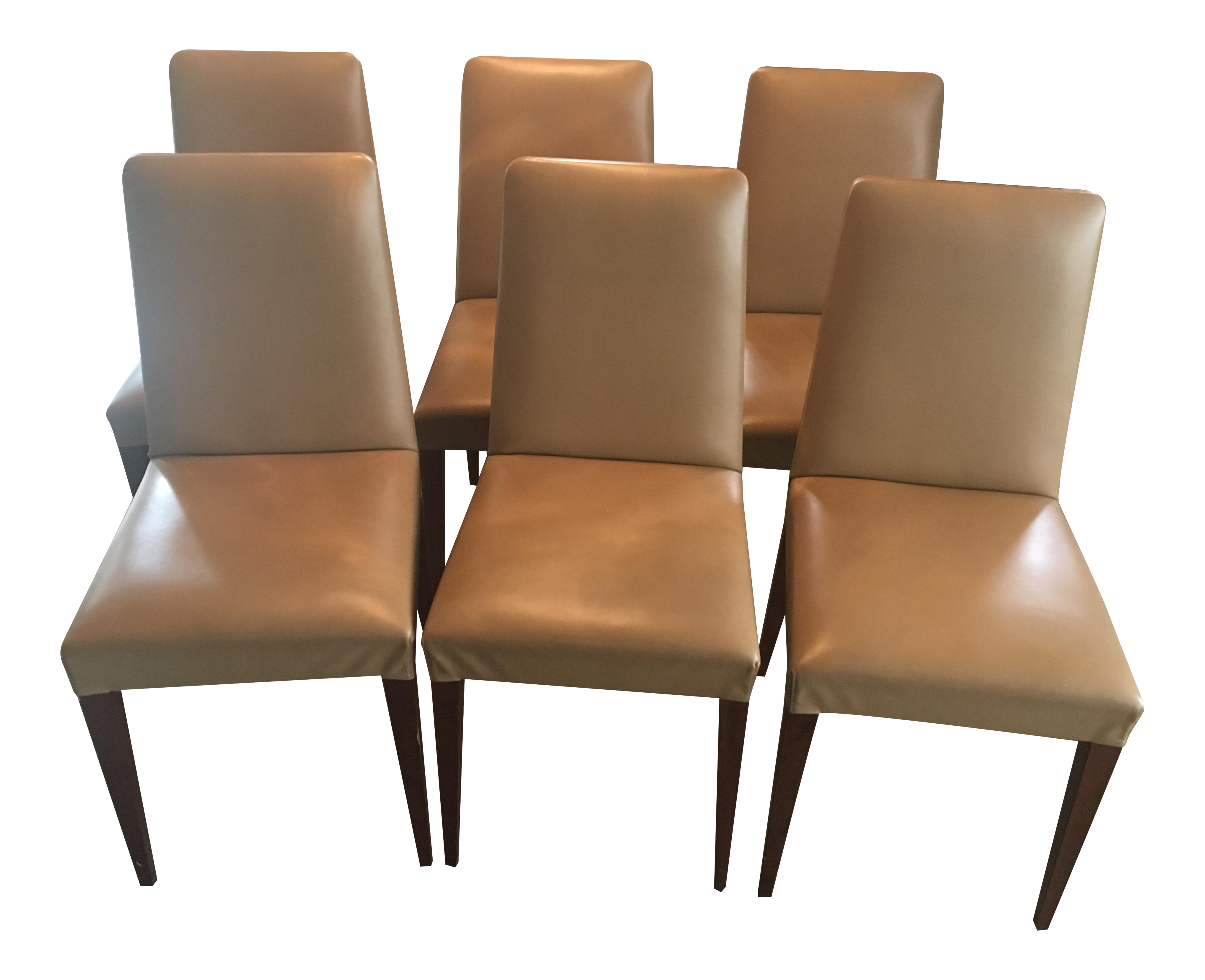 Cecconi Classic Alta Italian Leather Dining Chairs Set