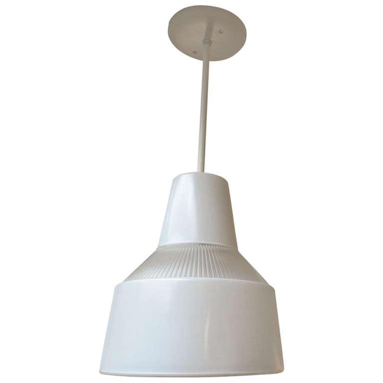 Italian Ribbed Glass Hanging Pendant Lamp