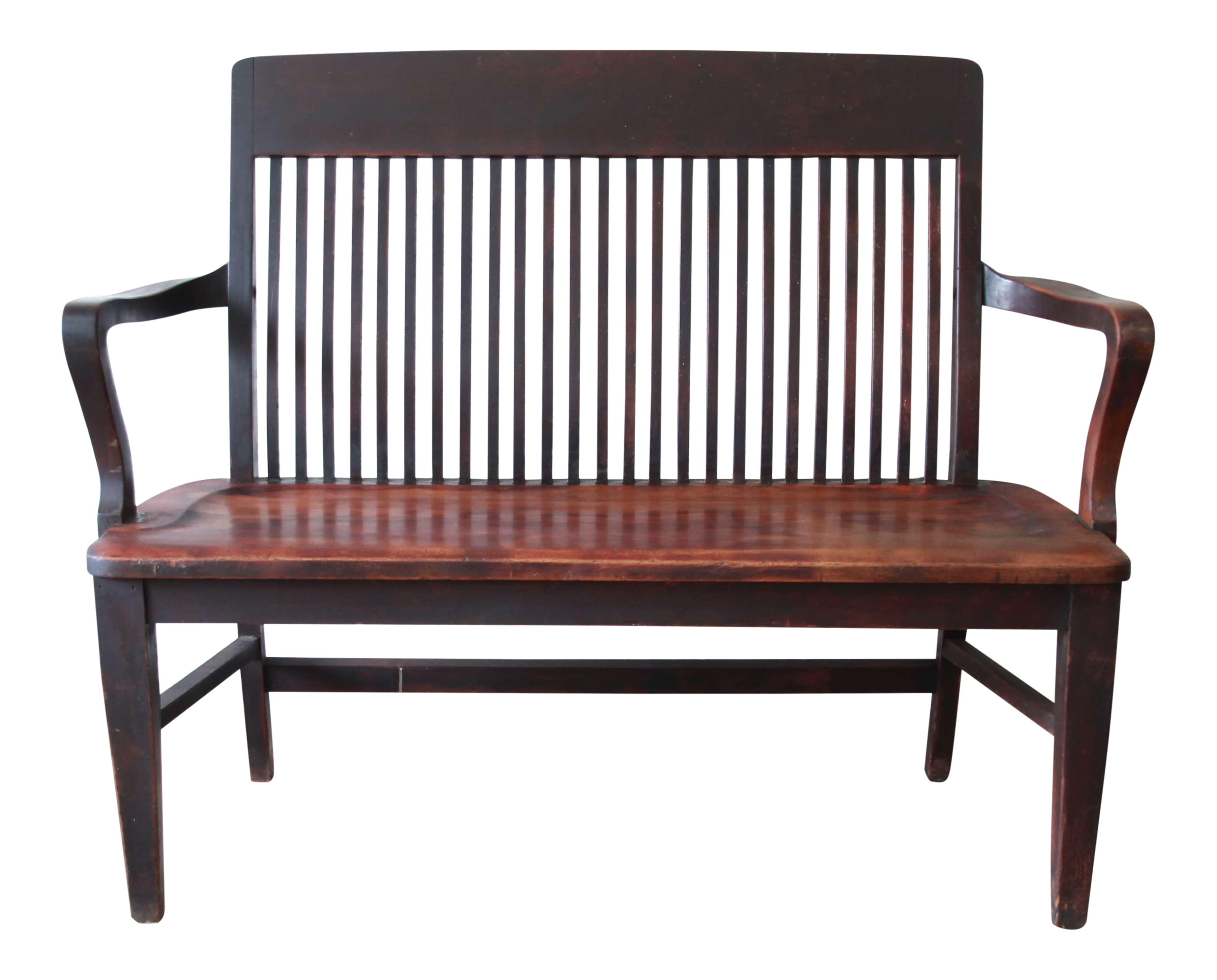 Antique Mahogany Banker s Bench by Milwaukee Chair pany Circa