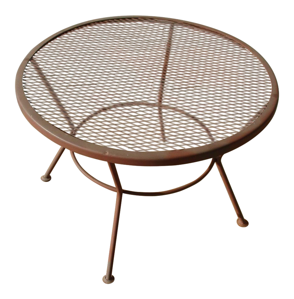 1950s Vintage Mid Century Wire Mesh Patio Round Table