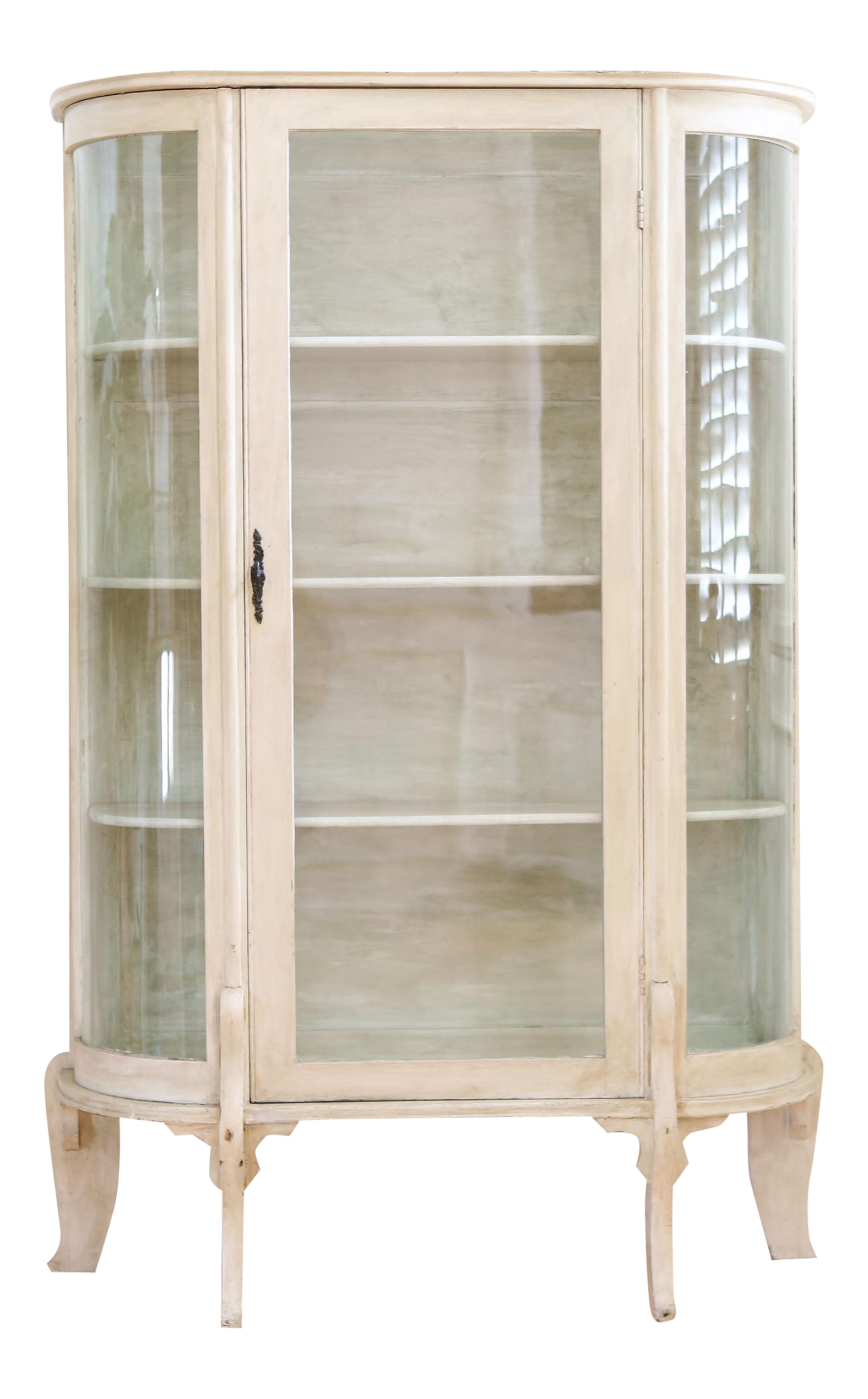 Vintage White Curio Display Cabinet Chairish