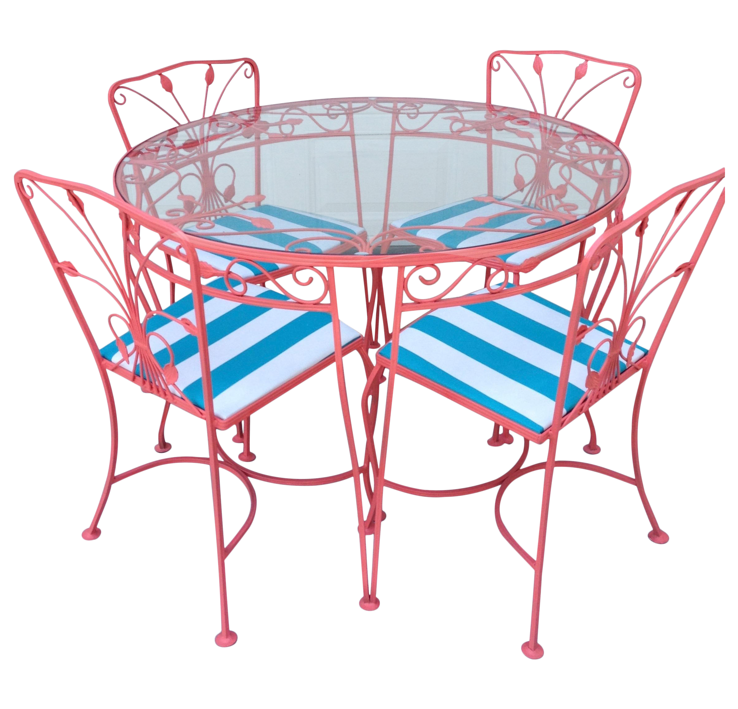Vintage wrought iron outdoor dining set chairish for Wrought iron dining set outdoor