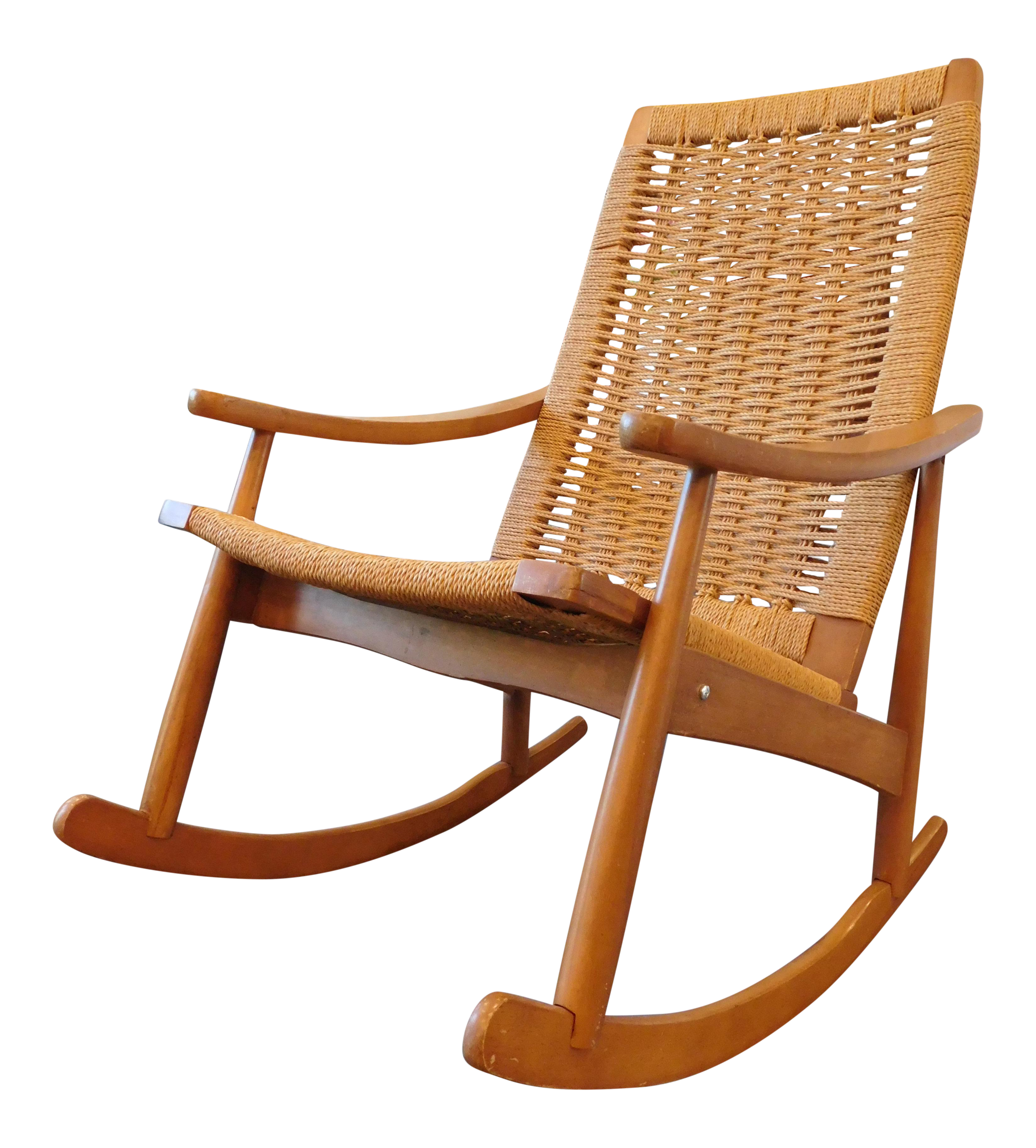 Acapulco chair vintage - Vintage Yugoslavian Hans Wegner Style Wicker Rocking Chair
