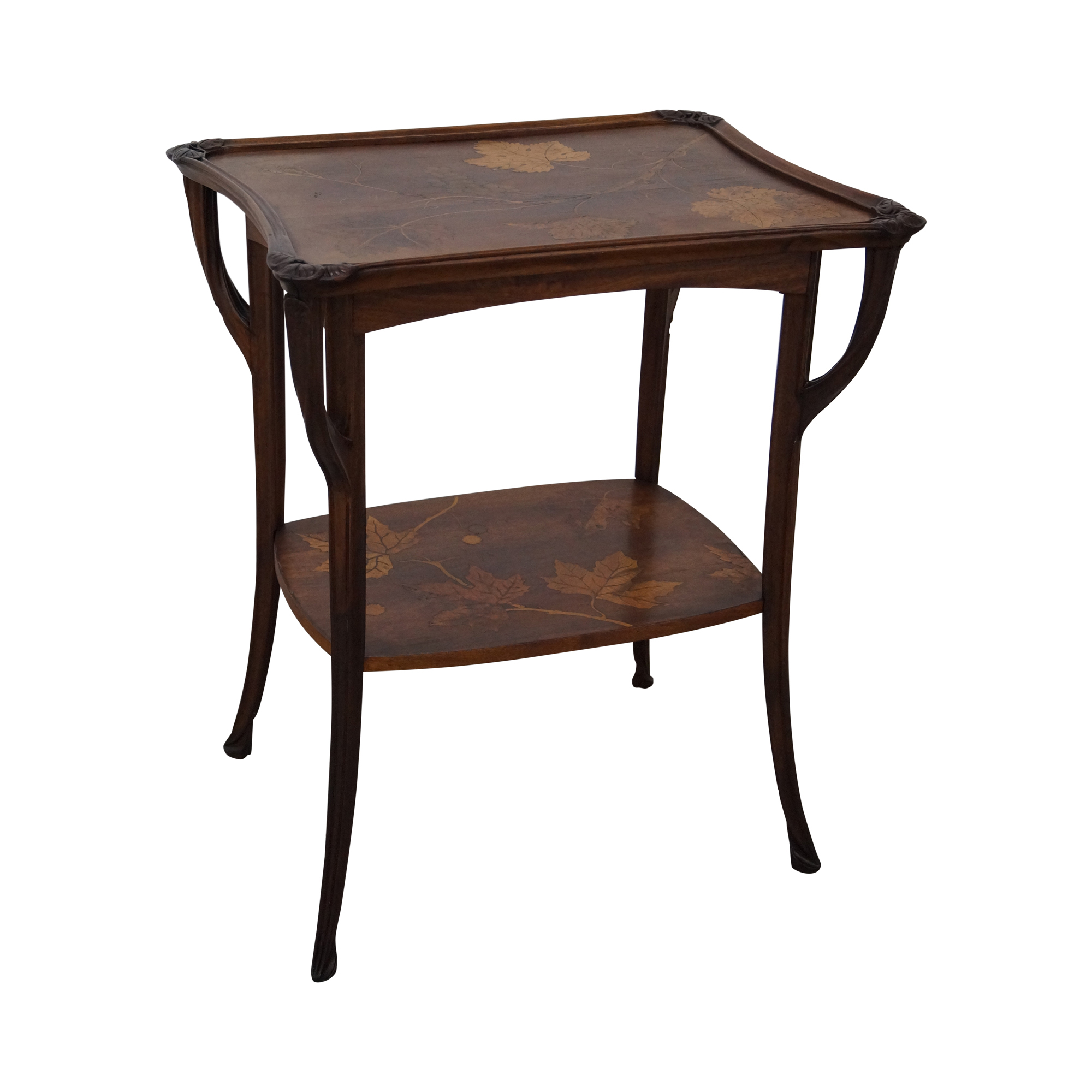 Antique Art Nouveau Marquetry Inlaid Side Table