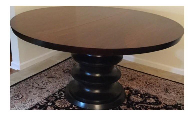 Bernhardt solid wood round pedestal dining table w leaf for Round dining table w leaf
