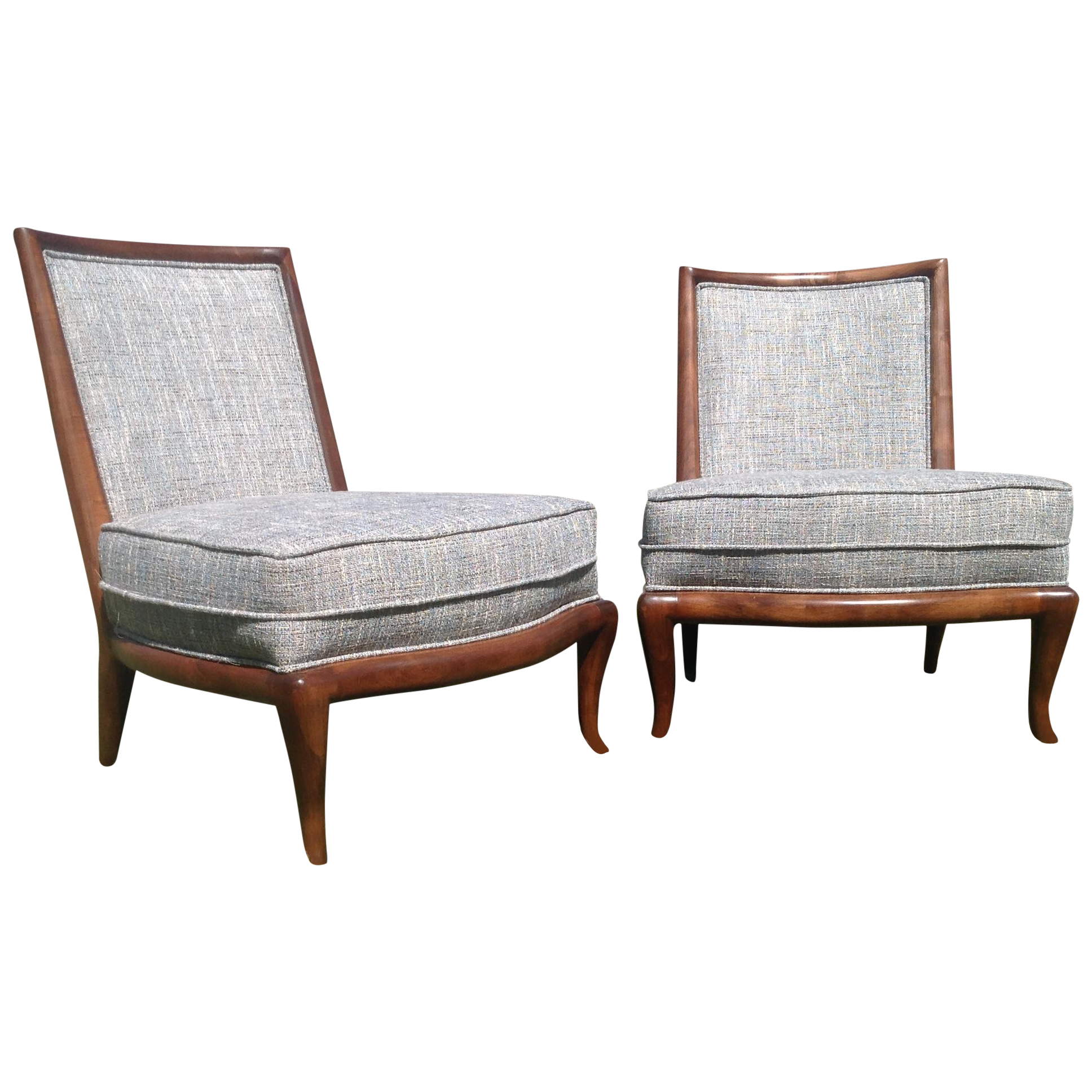 Mid Century Style Modern Slipper Chairs A Pair