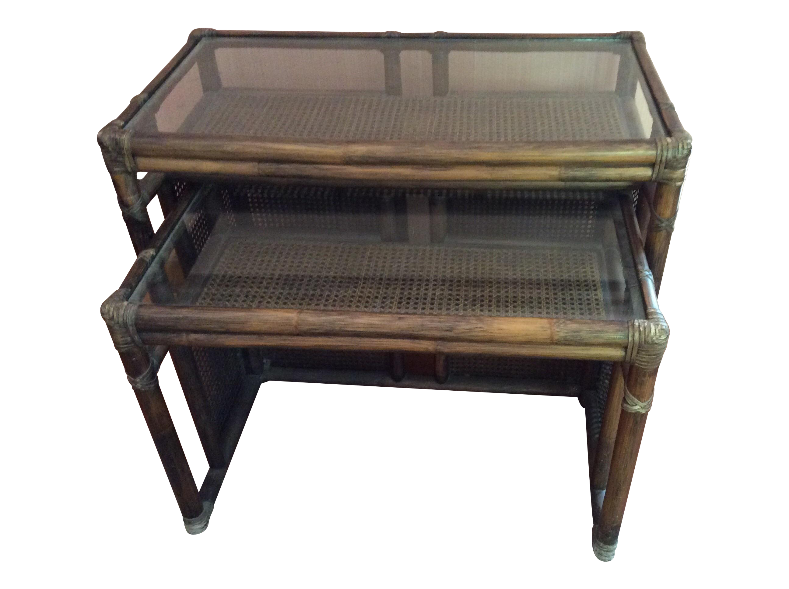 Mcguire Bamboo Cane Amp Glass Stacking Tables Pair Chairish