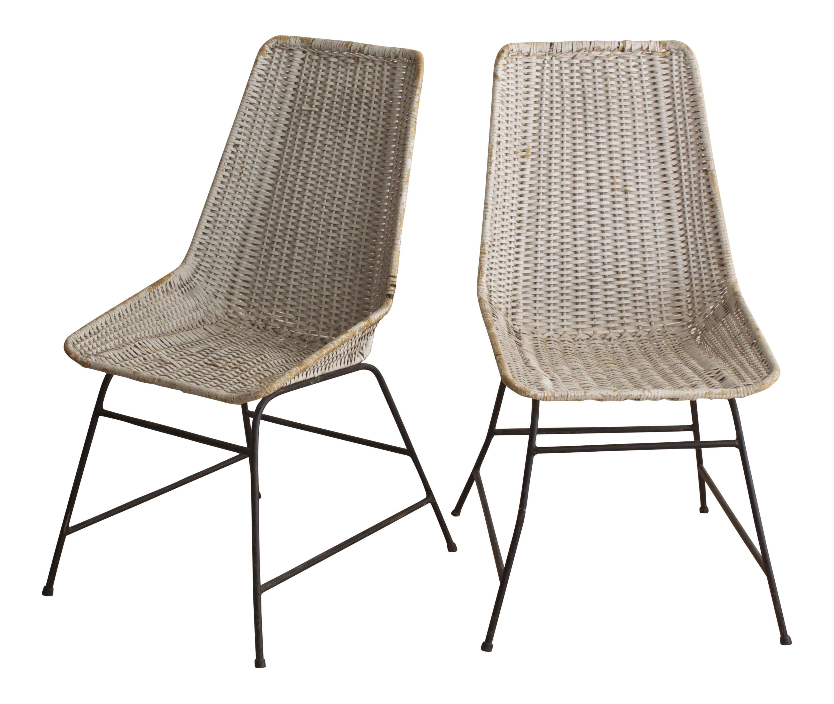 Vintage Woven Dining Chairs A Pair