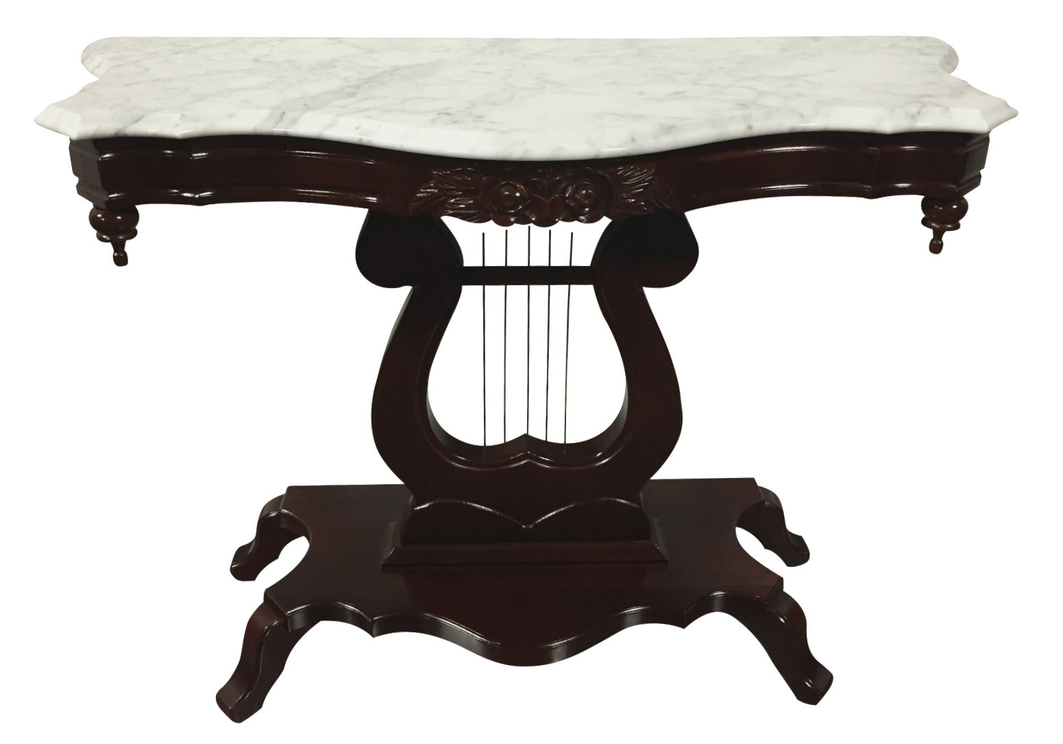 Vintage kimball victorian lyre harp console table chairish geotapseo Images