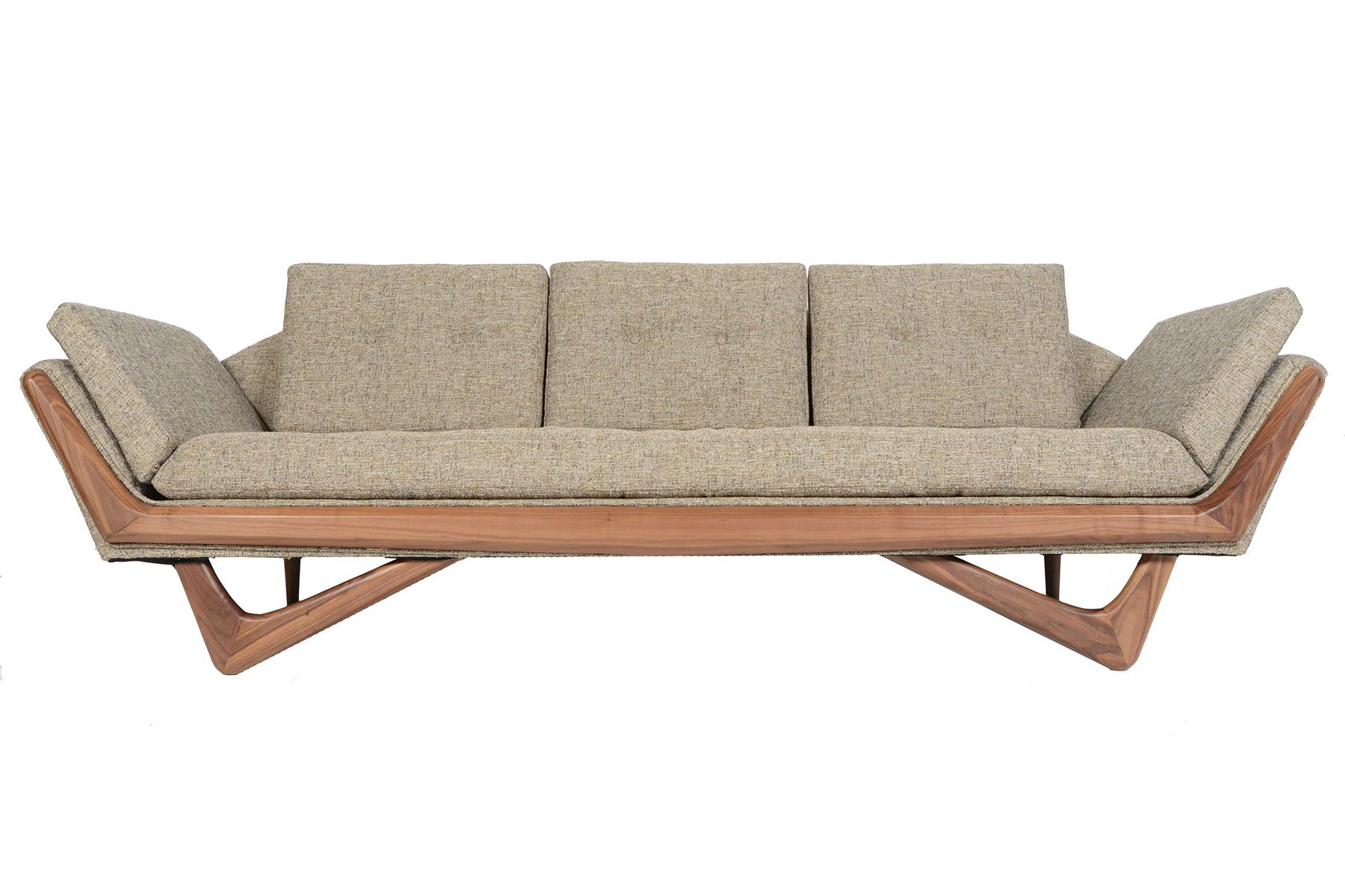 mid century style streamline sofa in walnut chairish. Black Bedroom Furniture Sets. Home Design Ideas