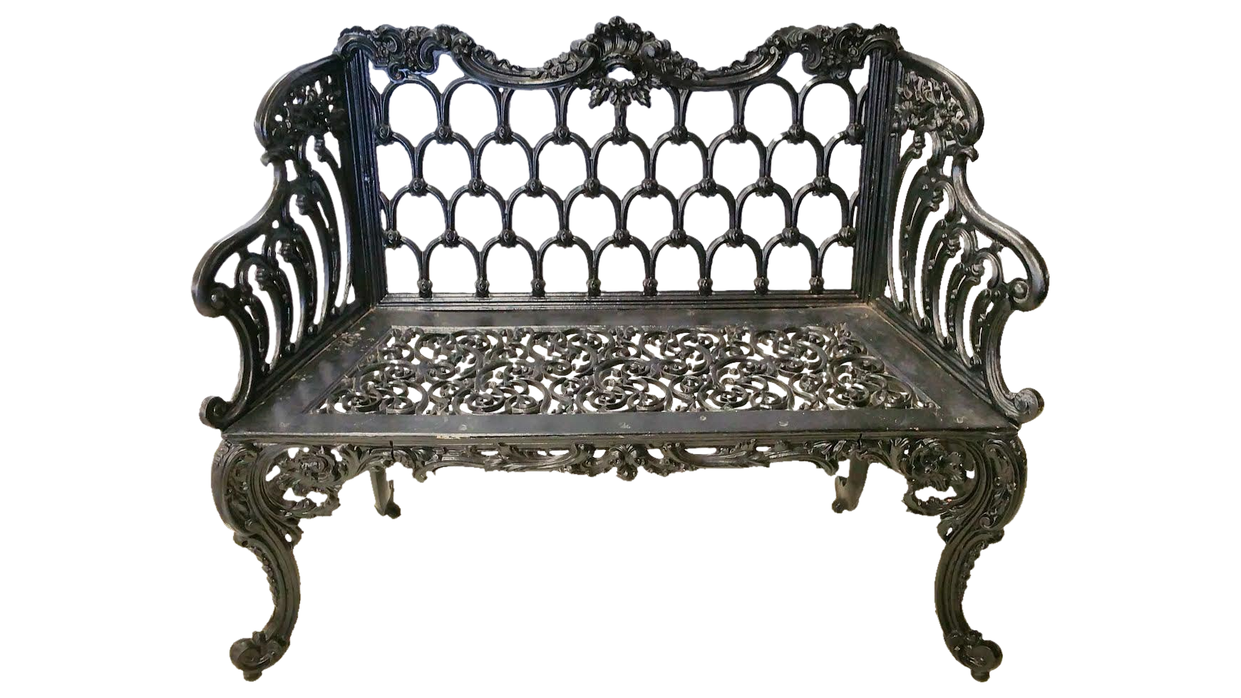 Black Cast Iron White House Garden Bench Chairish