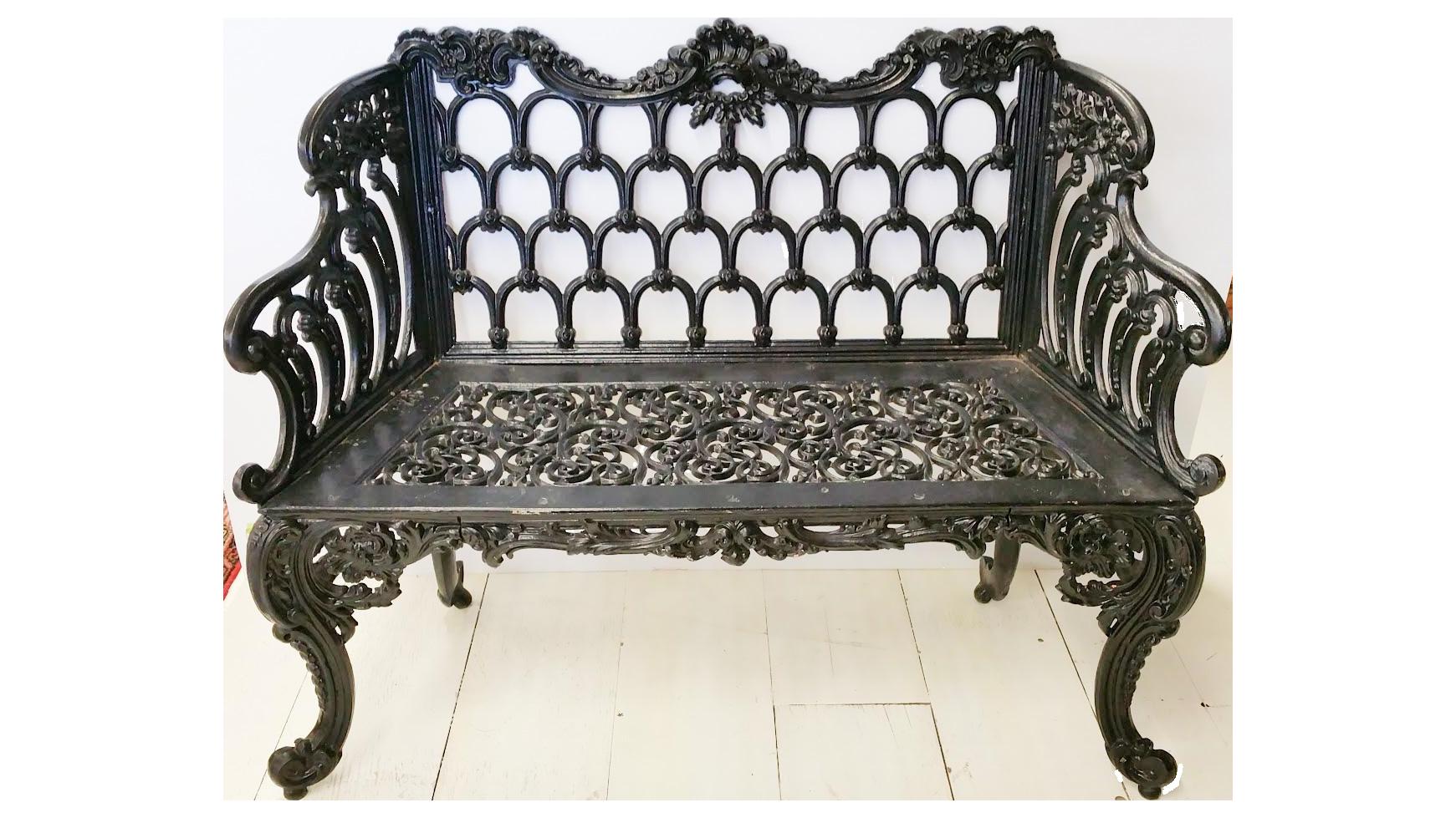 Black Cast Iron White House Garden Bench | Chairish
