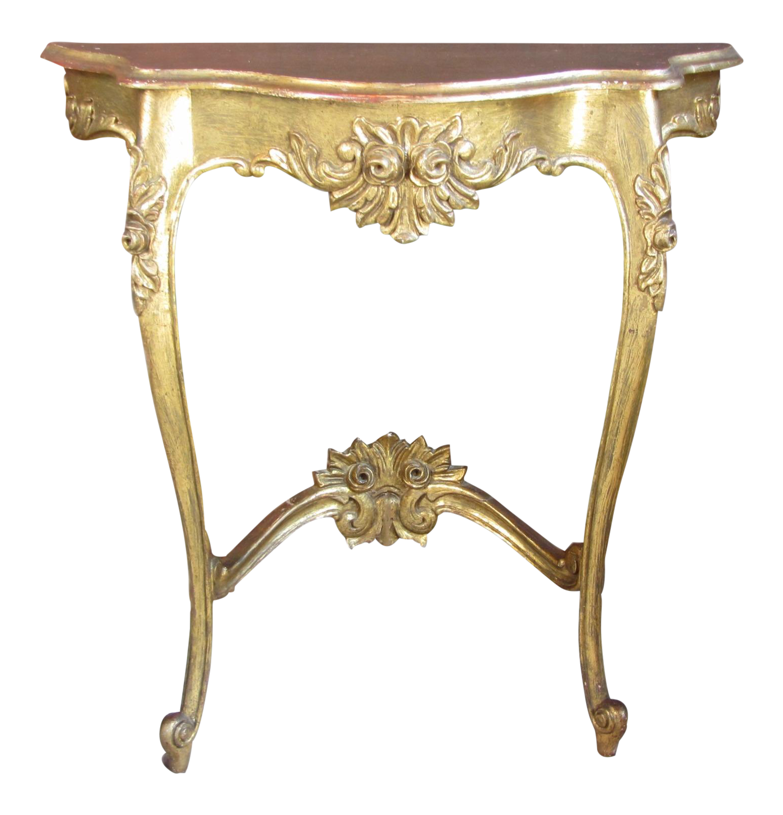 Antique gold painted french carved demi lune table chairish - Table cuisine demi lune ...