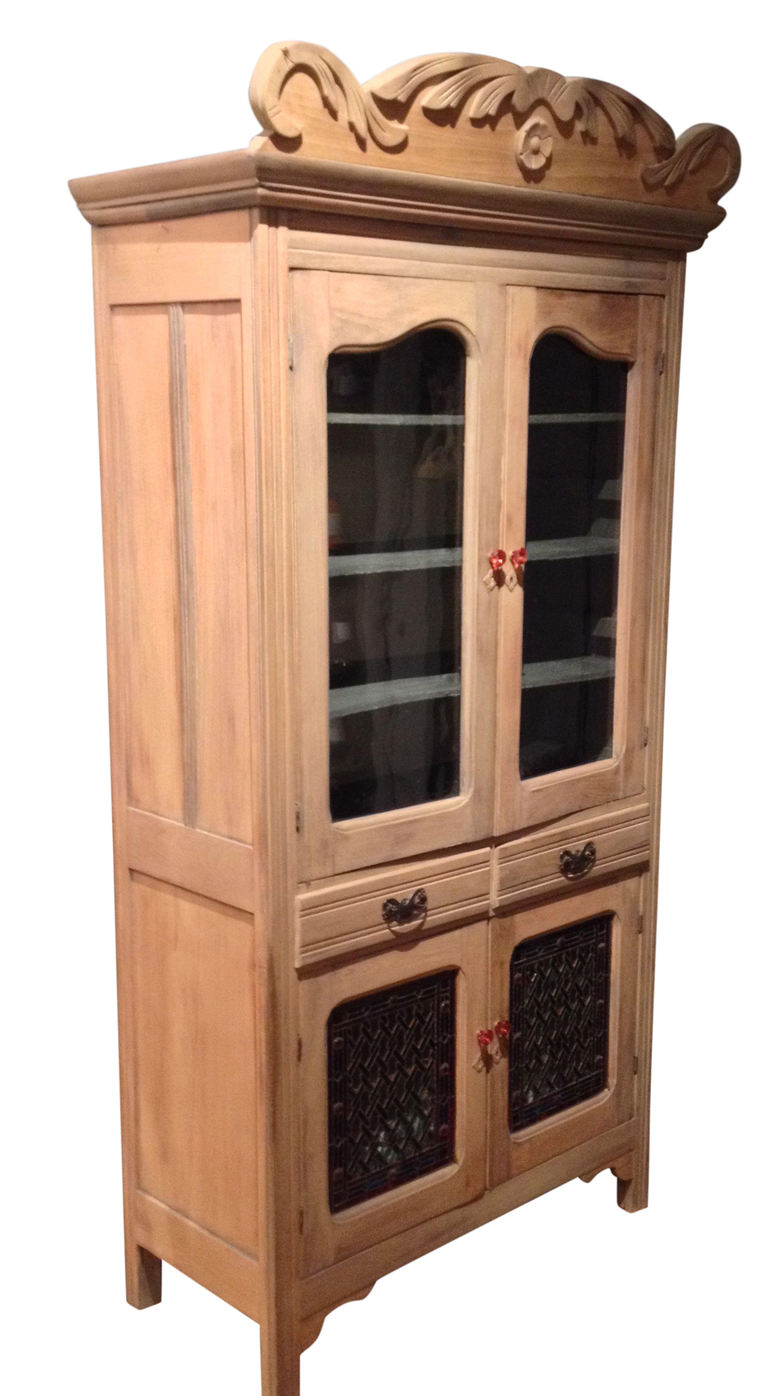 Antique Pine Cabinet With Clear Glass Doors Chairish