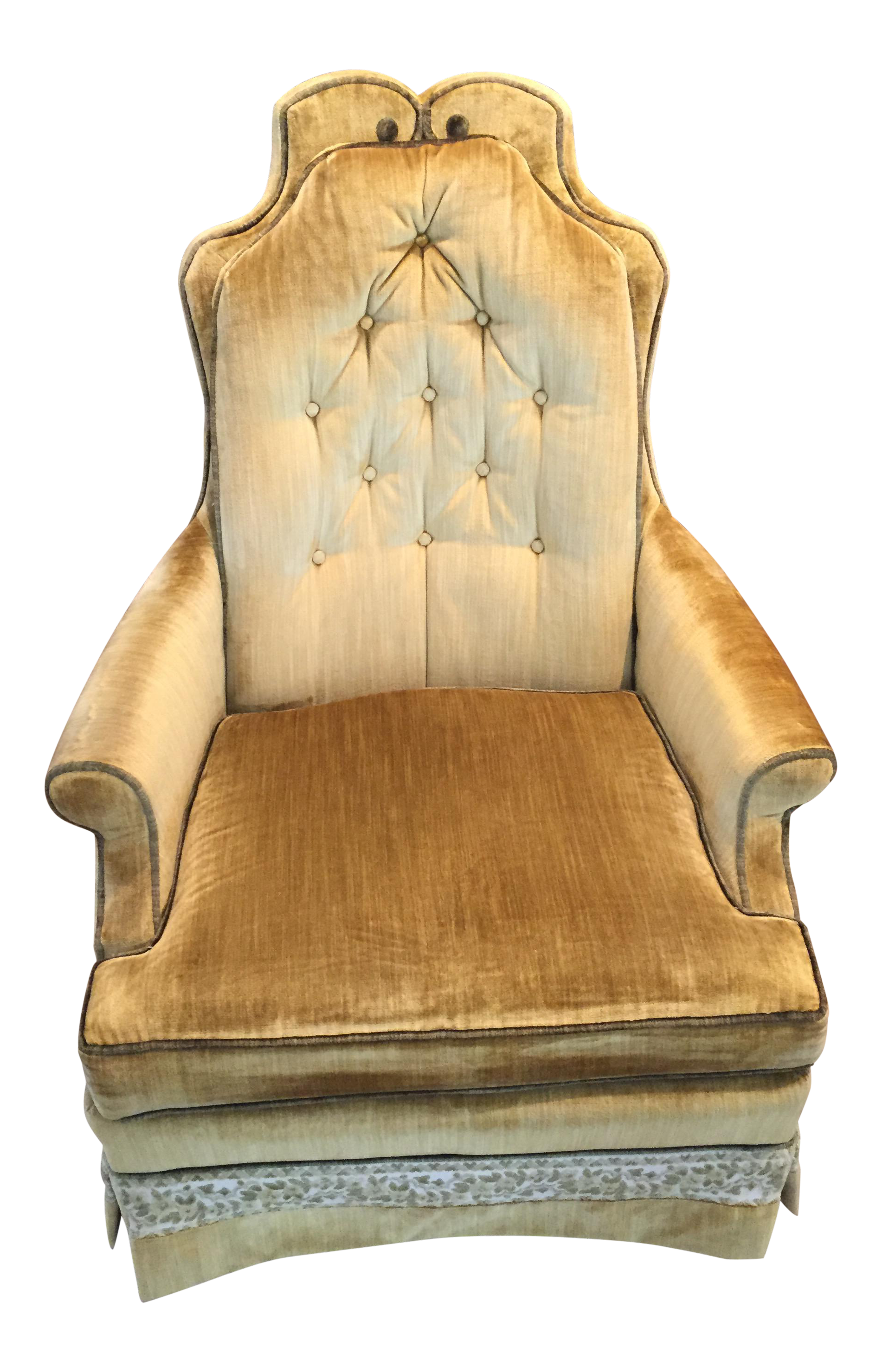 Hollywood Regency Muted Gold & Green Crushed Velvet Chair by