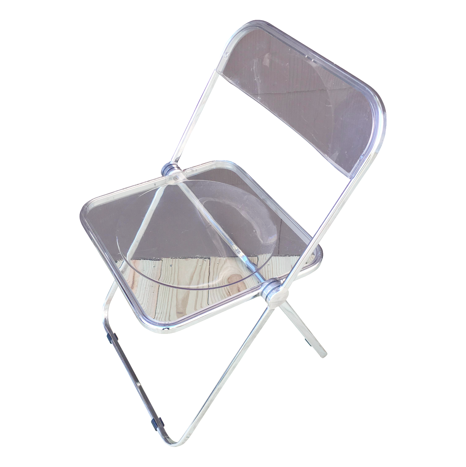 Italian Plia Acrylic Folding Chairs Set of 4
