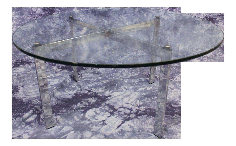 barcelona mid-century modern round glass top coffee table   chairish