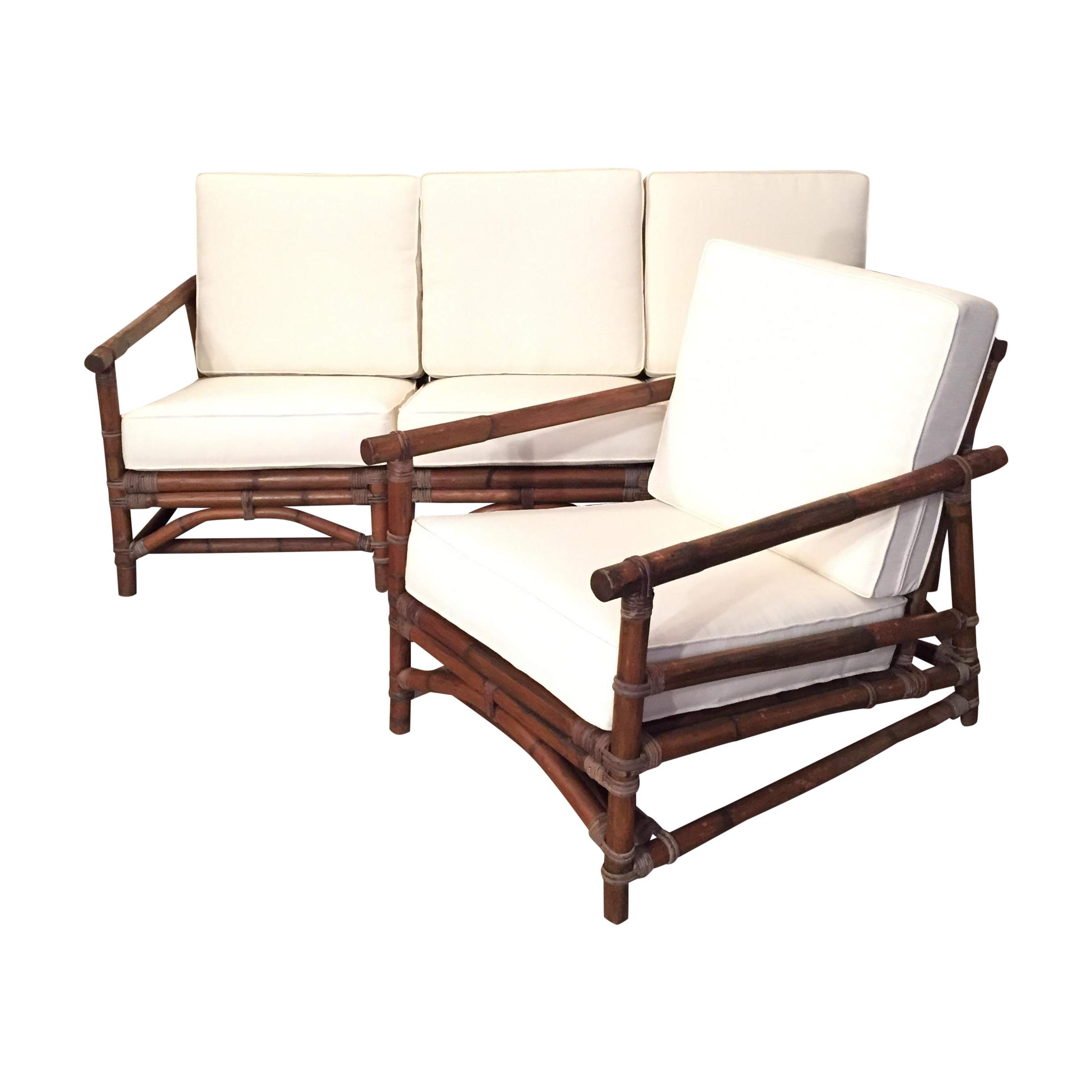 milo baughman calif asia rattan sectional sofa set chairish