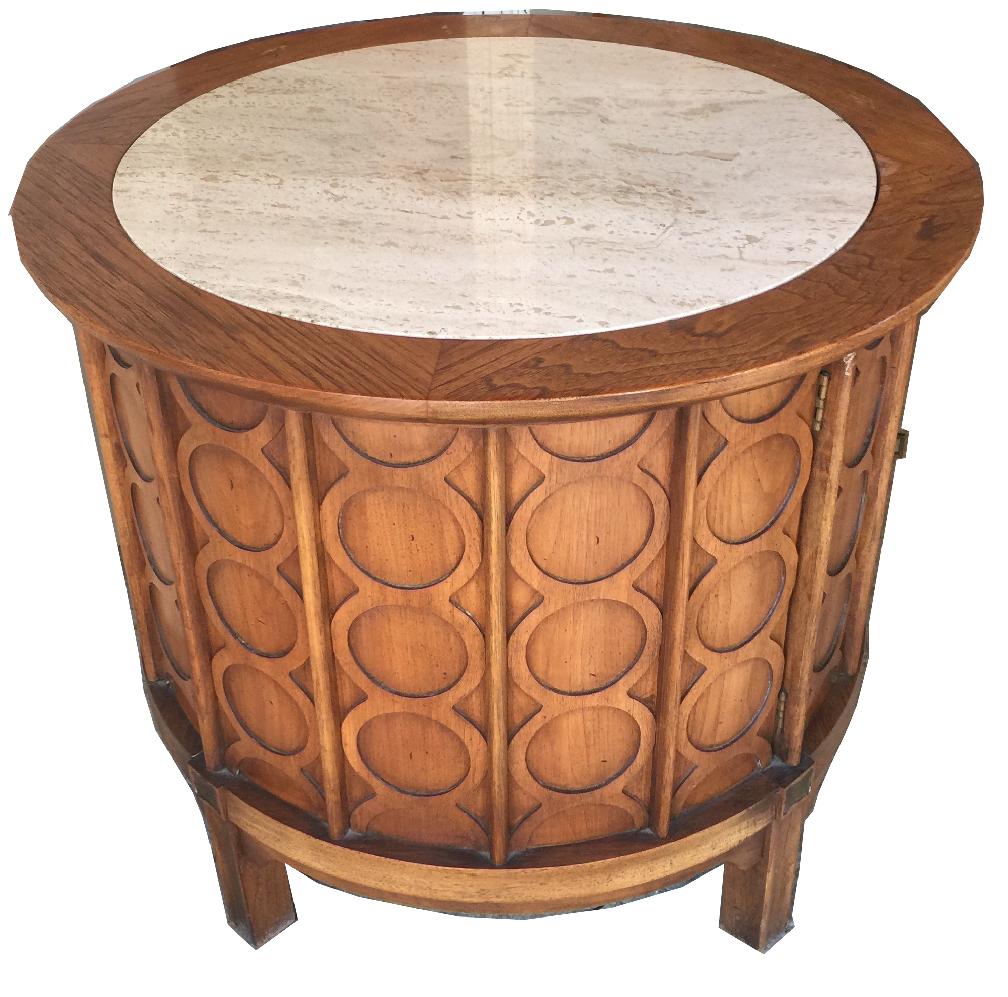 Thomasville Oval Coffee Table: Mid-Century Modern Round Travertine Top Commode