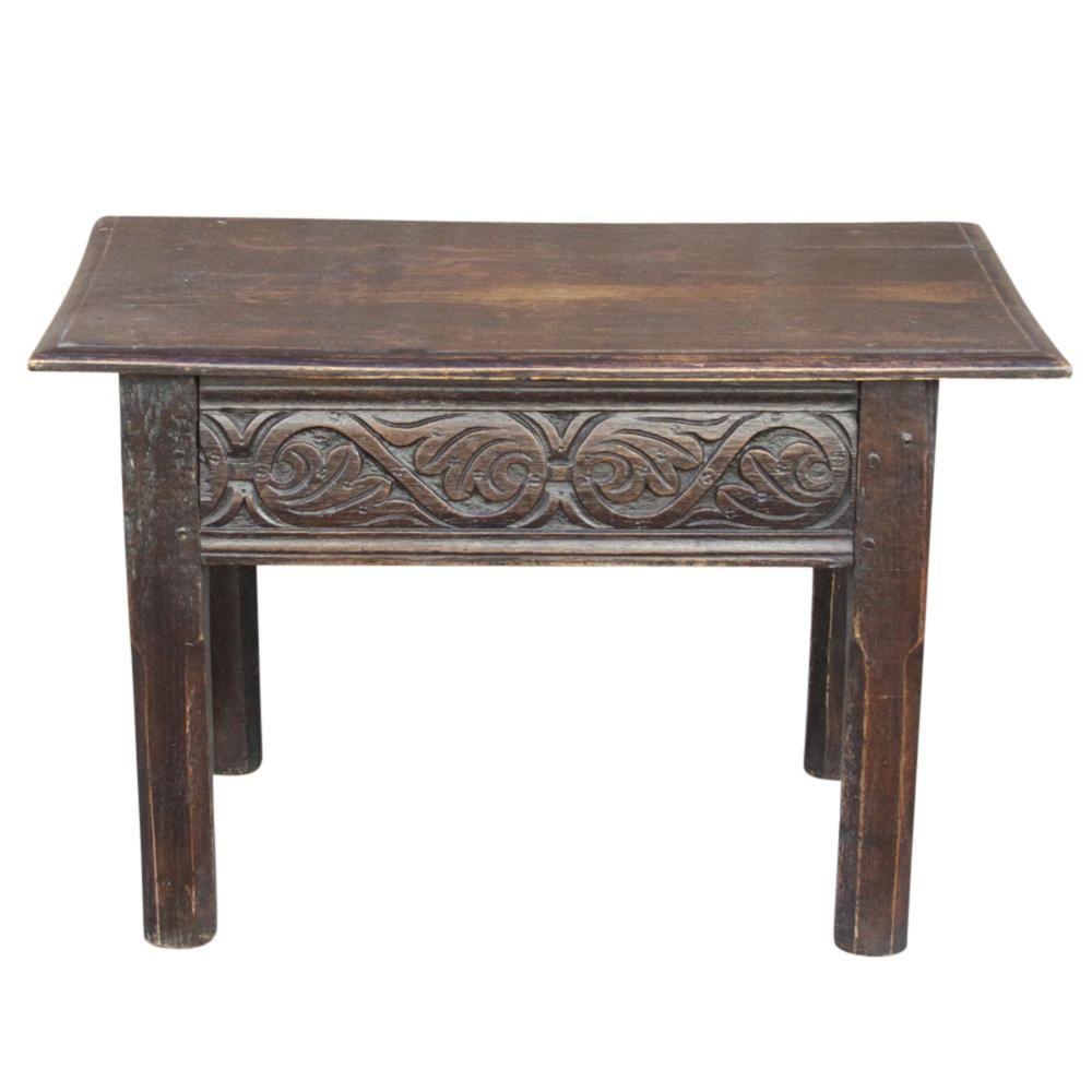 Dark Oak Carved Coffee Table Chairish