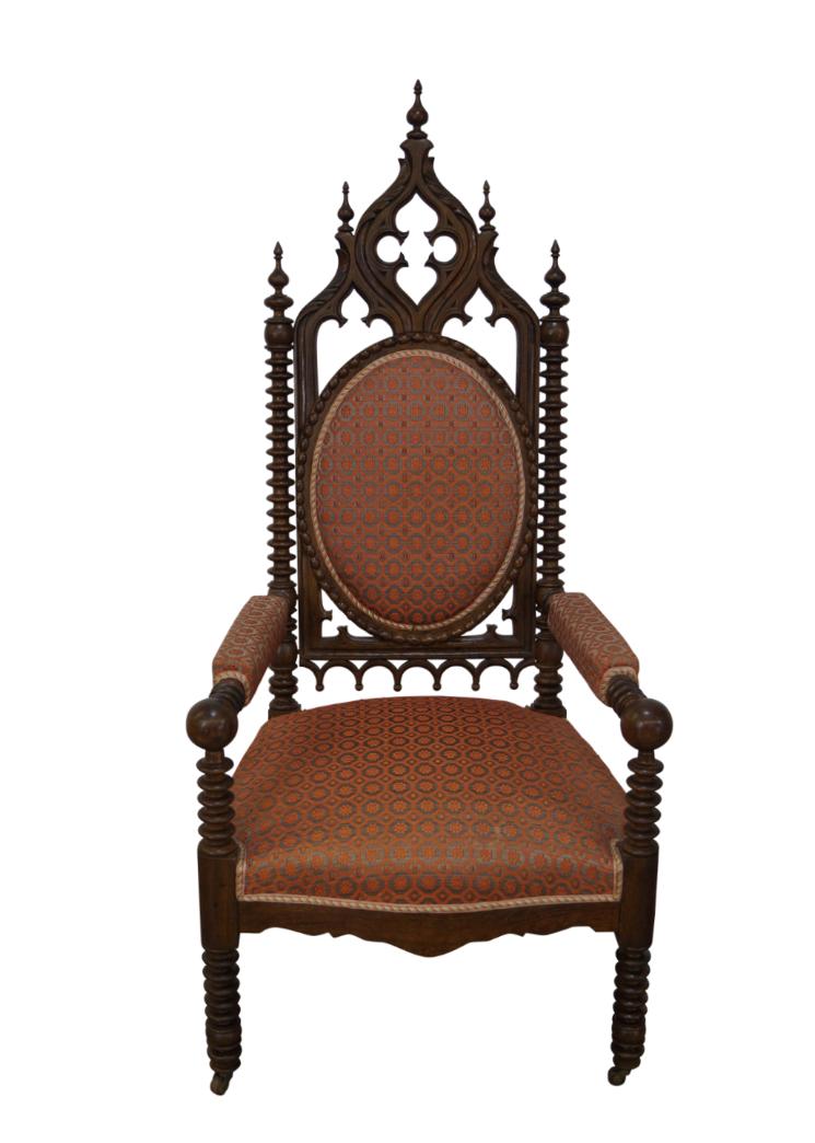 Antique 19th Century Walnut Gothic Throne Chair Chairish