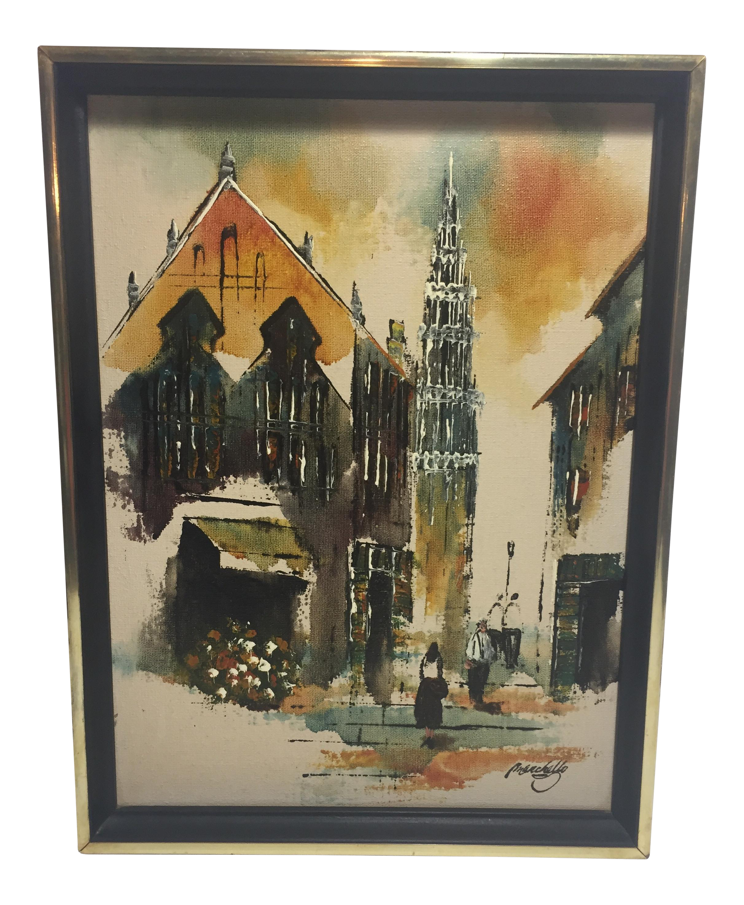 Mid Century Oil Painting By Adriano Marchello Chairish