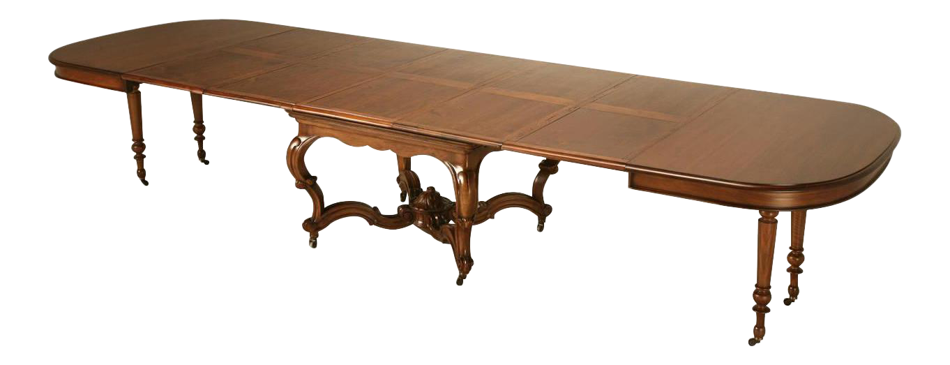Circa 1890 ch jeanselme et cie french walnut dining table for Cie 85 table 4
