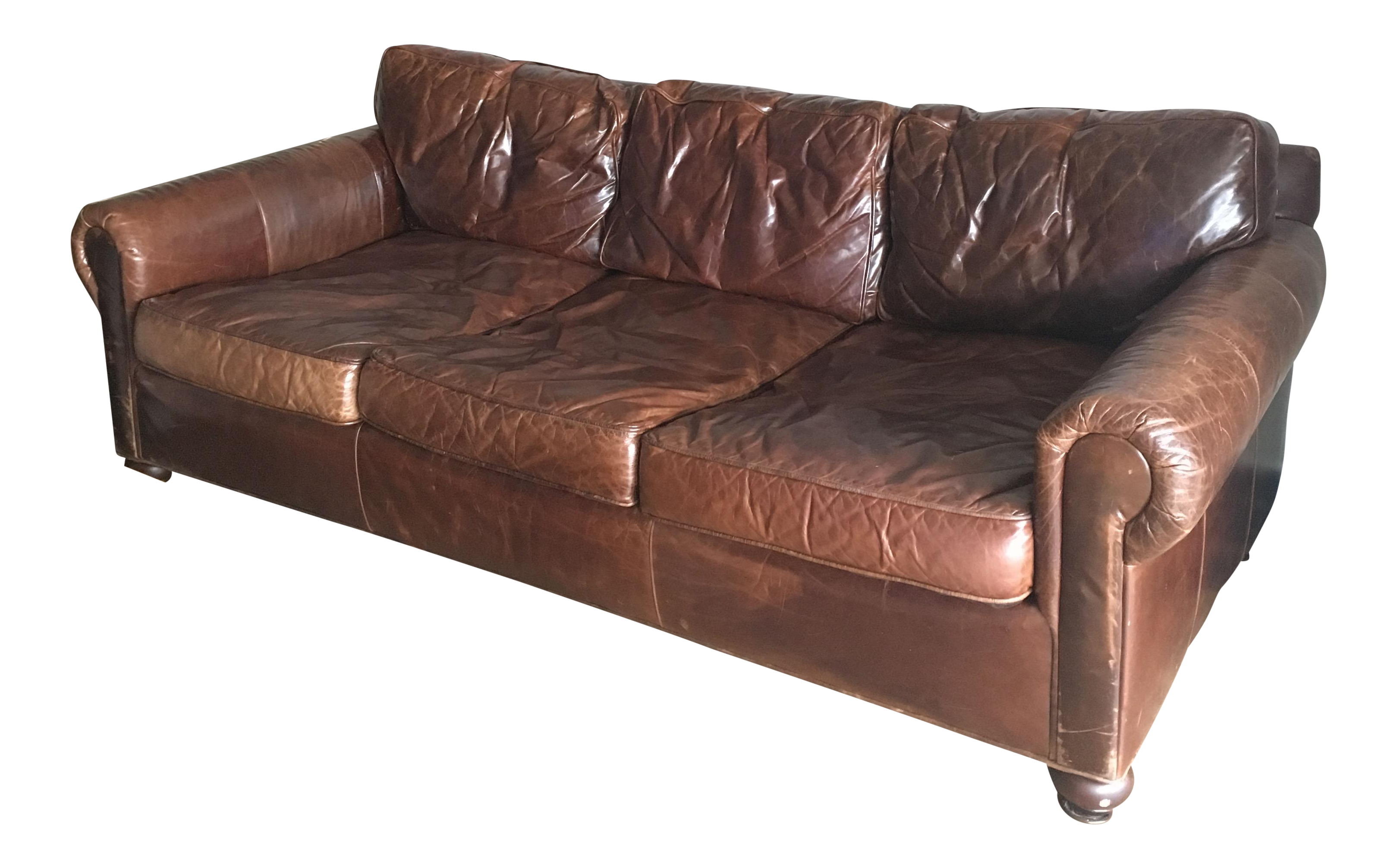 Leather Couch Restoration Restoration Hardware Original Lancaster Leather Sofa Chairish