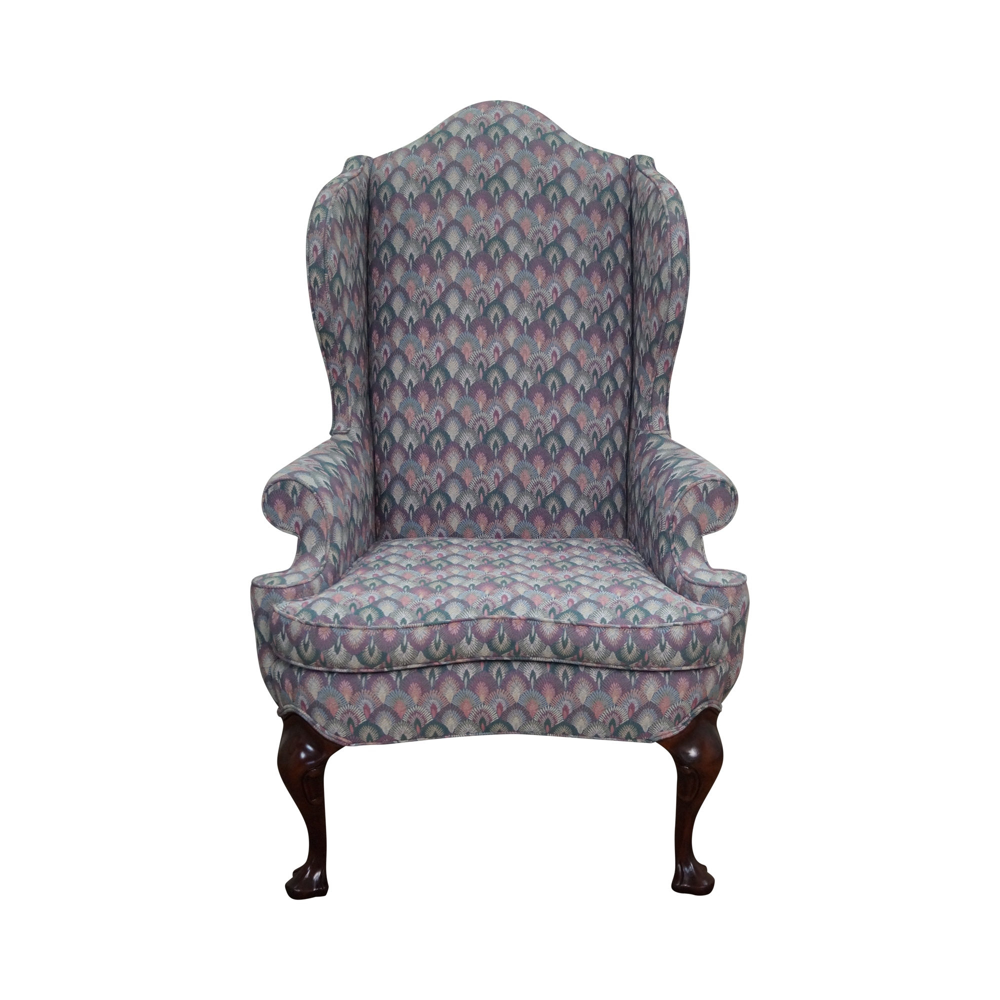 Solid Mahogany Queen Anne Wing Chair By Southwood Chairish