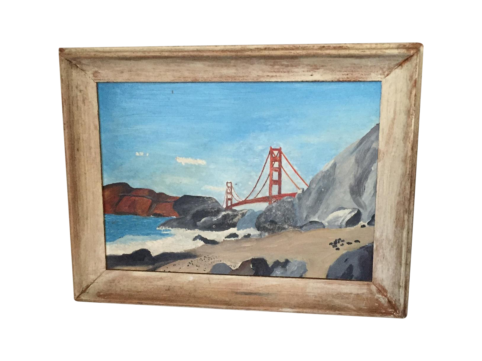 Golden gate bridge painting chairish for Kitchen cabinets lowes with golden gate wall art