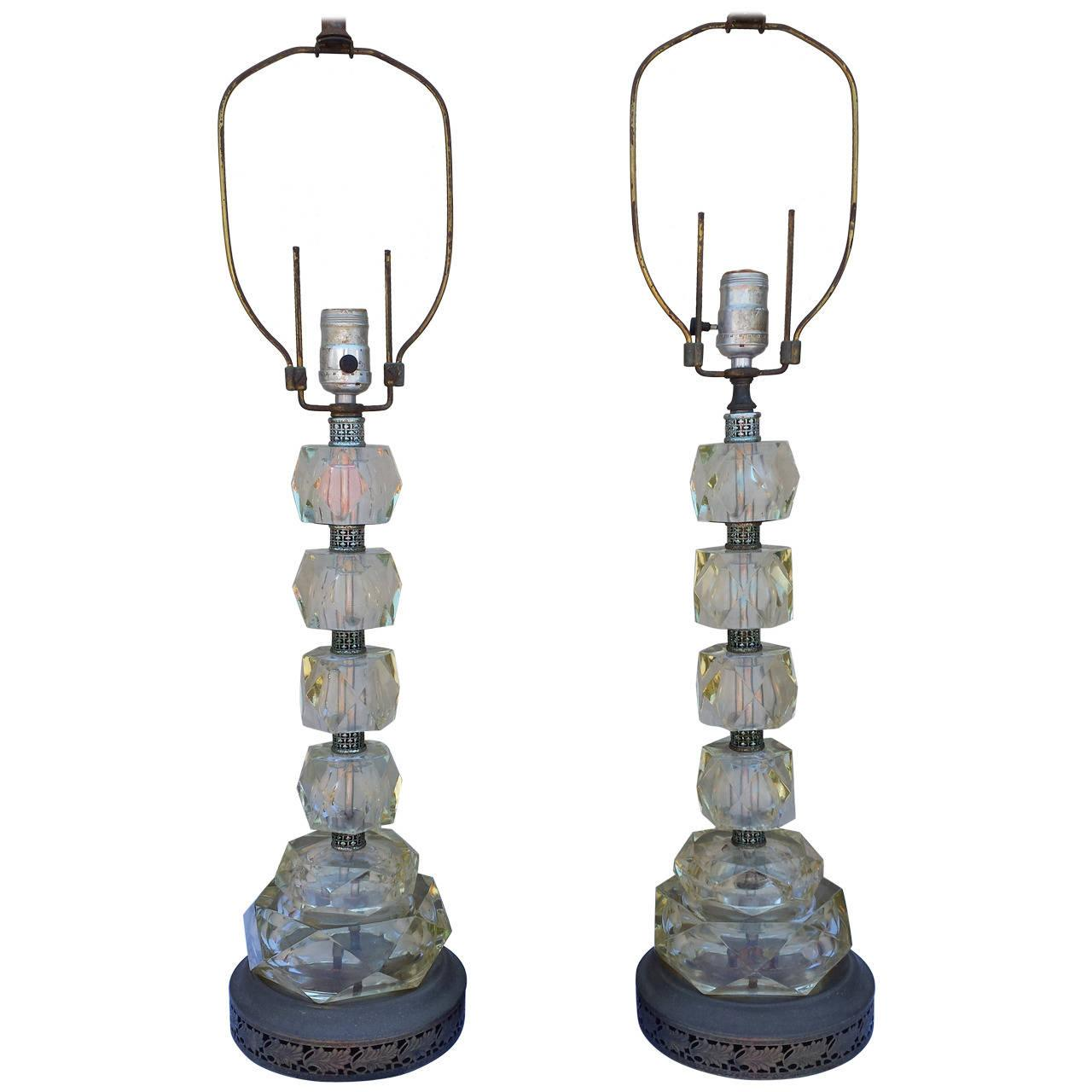 Mid Century Glass Cut Table Lamps