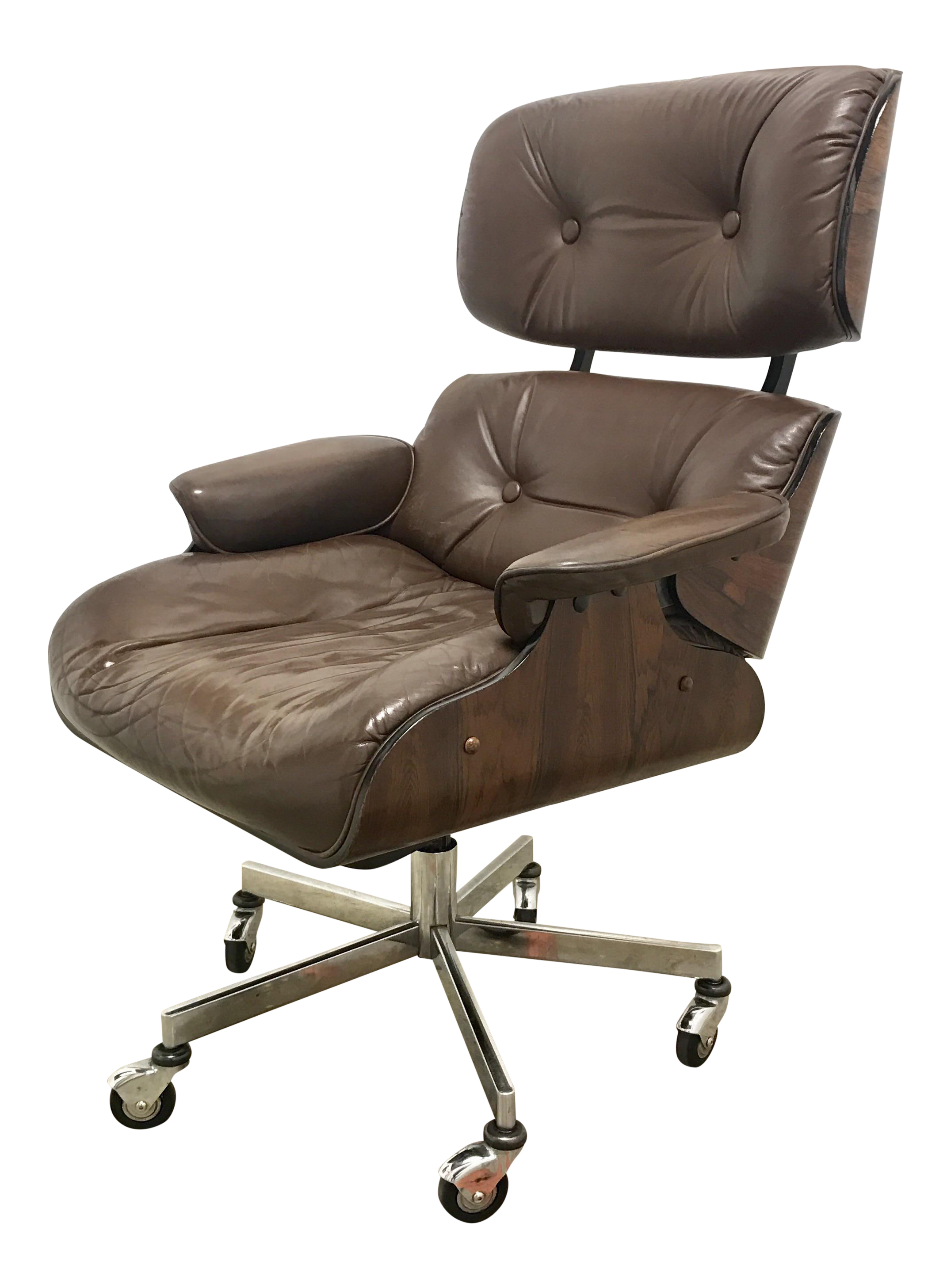 Eames Style Rosewood & Leather fice Chair