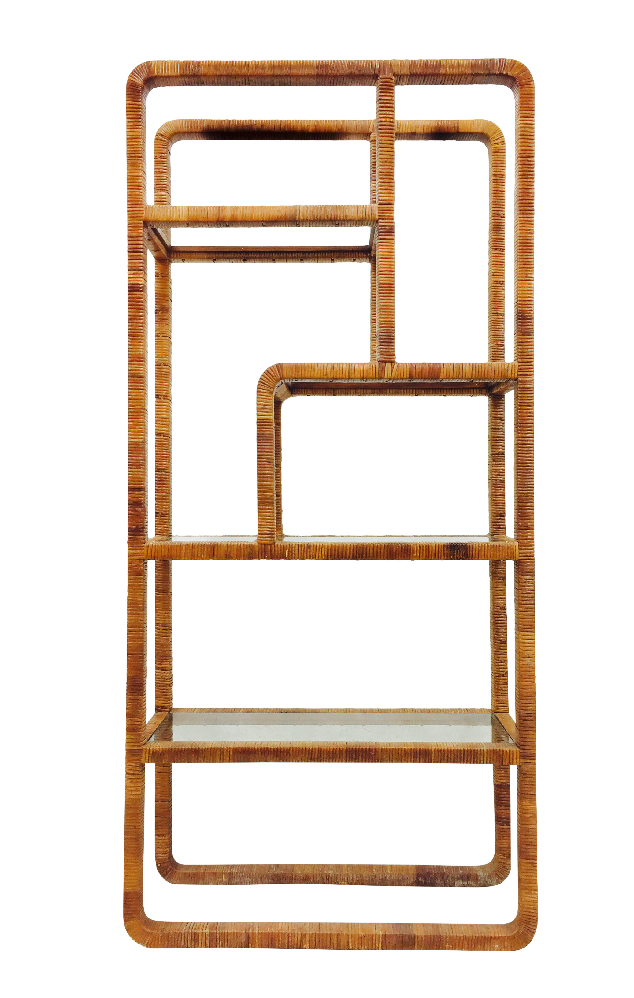 vintage midcentury modern woven wicker u0026 glass etagere shelf