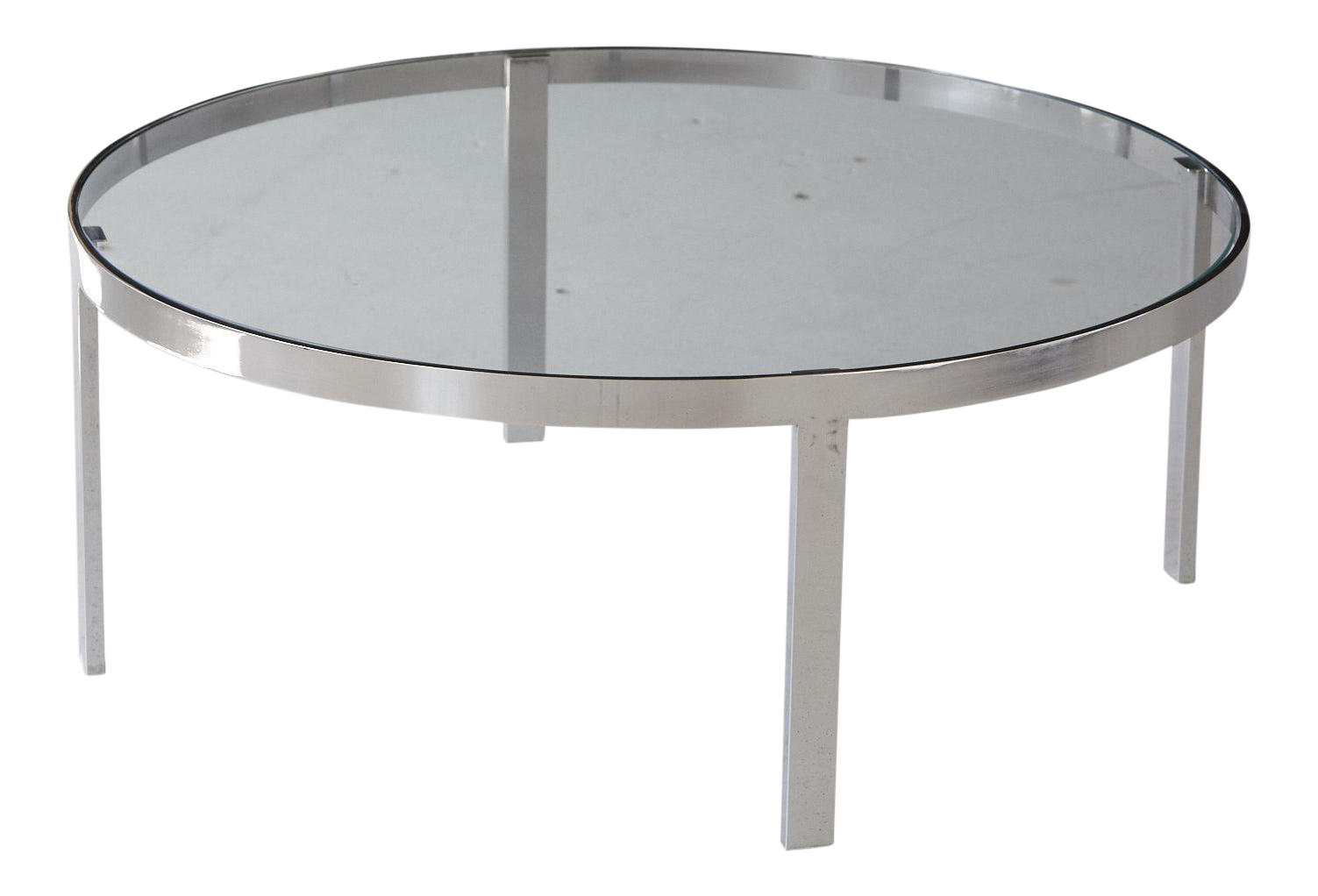 Exquisite Milo Baughman Round Chrome and Glass Coffee Table DECASO
