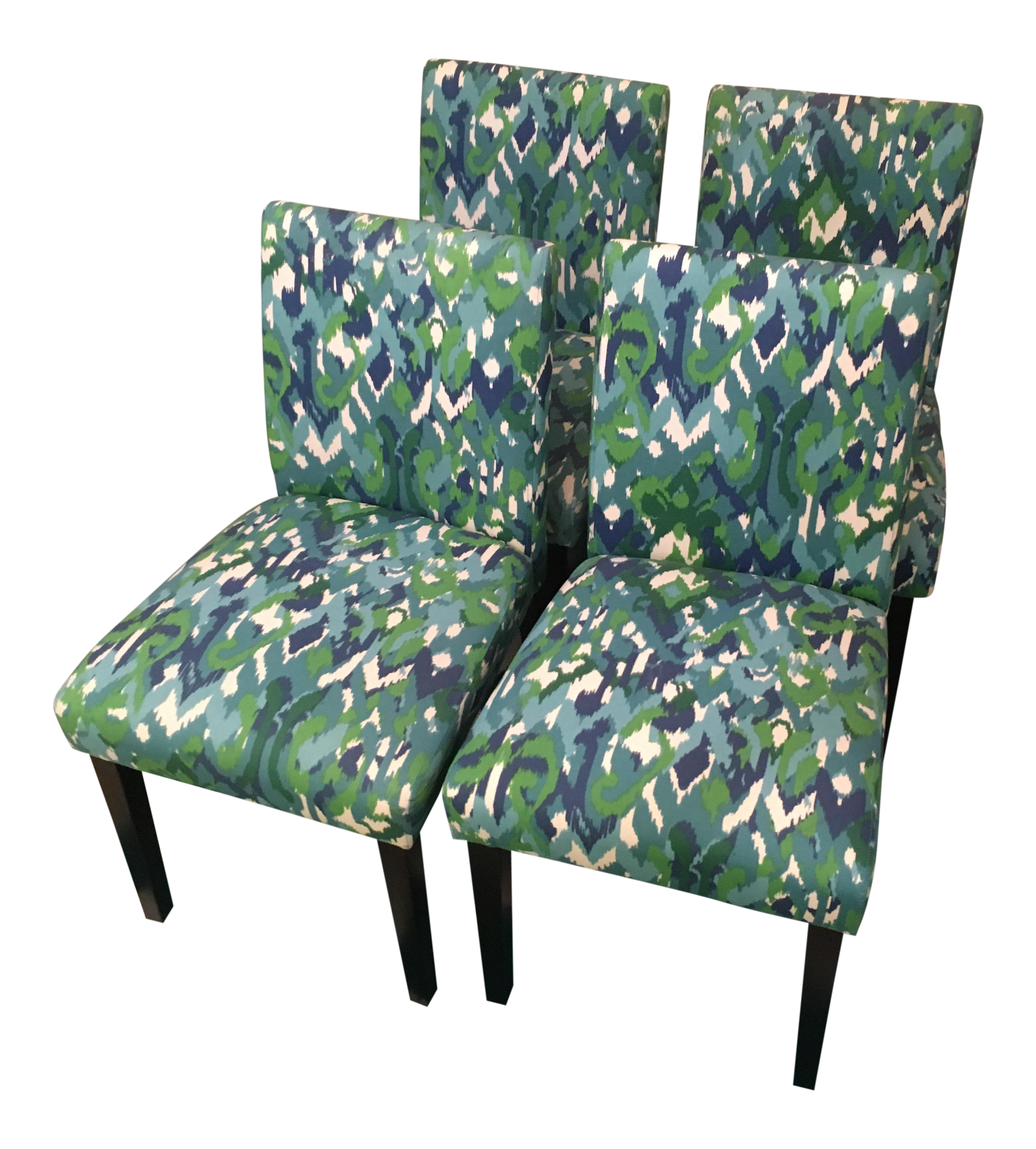 Teal Ikat Design Parsons Fabric Chairs Set Of 4 Chairish
