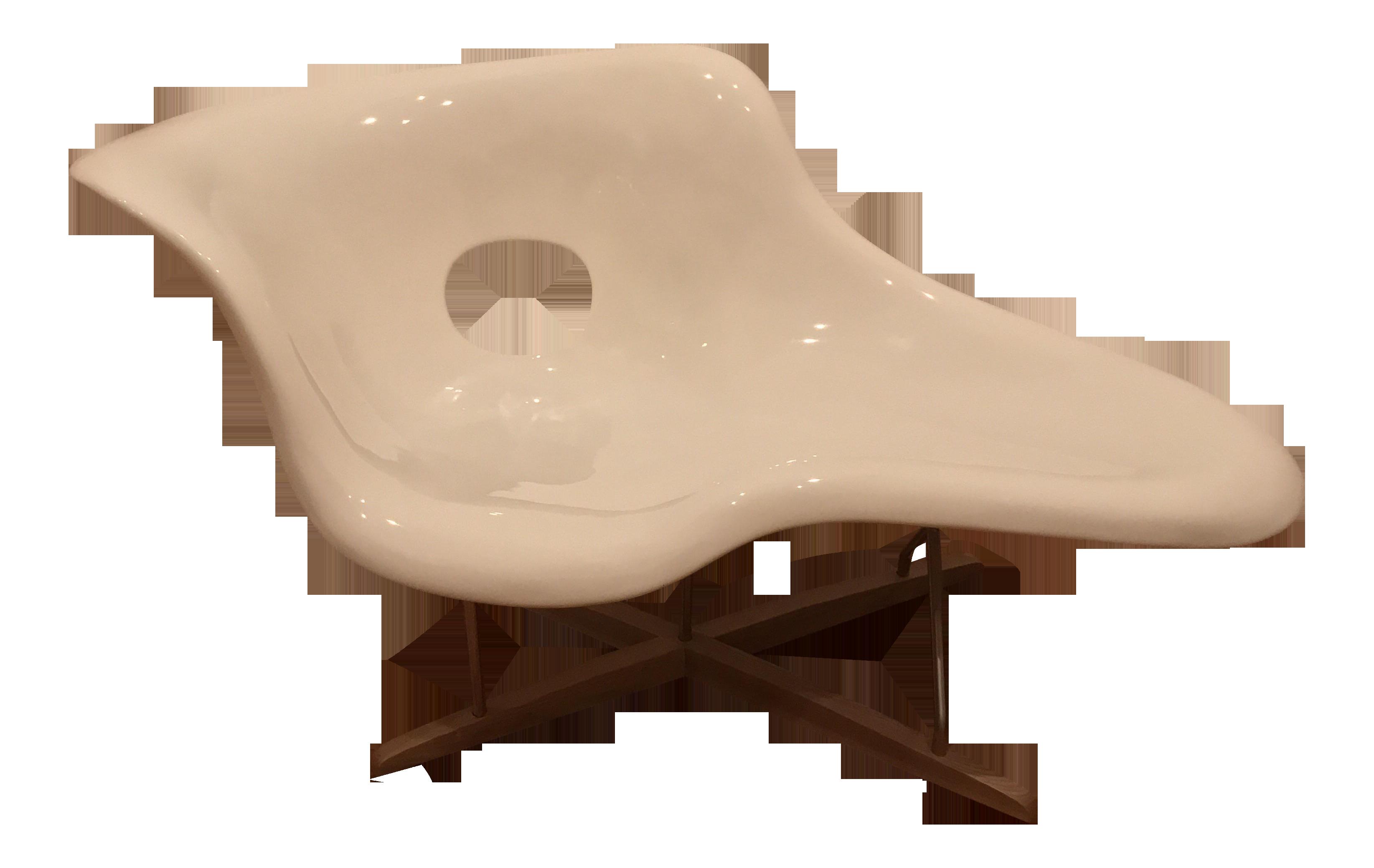 eames la chaise white lounge chair chairish. Black Bedroom Furniture Sets. Home Design Ideas