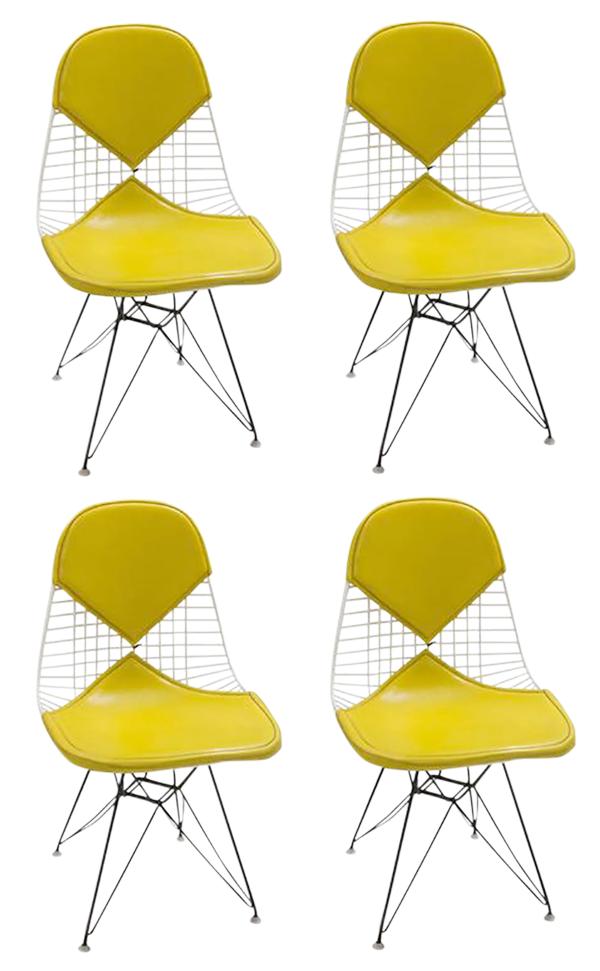 Eames dkr yellow bikini chairs set of 4 chairish for Chaise eames dkr