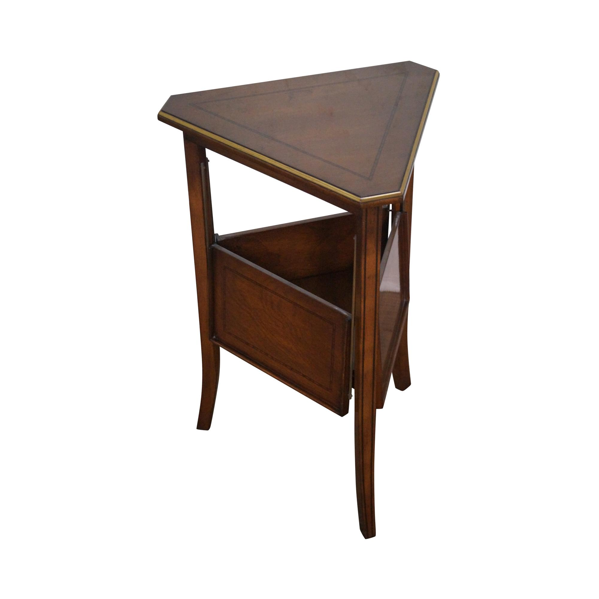 Regency Directoire Triangle Side Table W Expandable Shelf