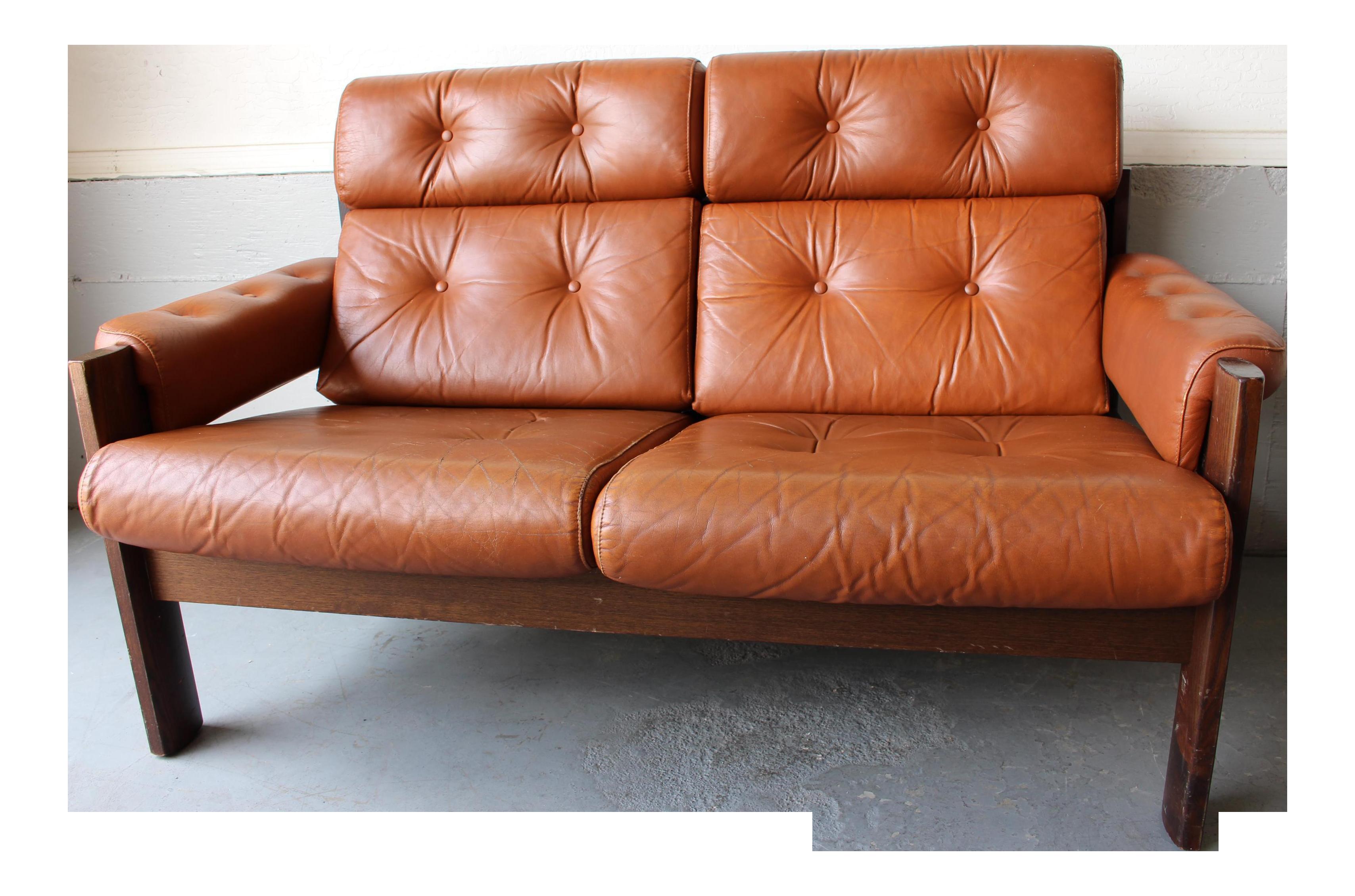 Vintage Percival Style Ekornes Leather Loveseat Chairish