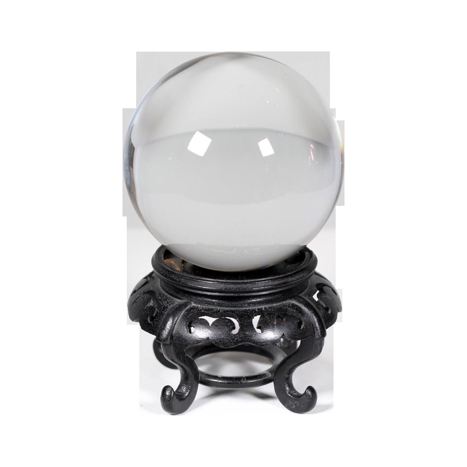 Hardwood Base Chinese Crystal Ball Chairish