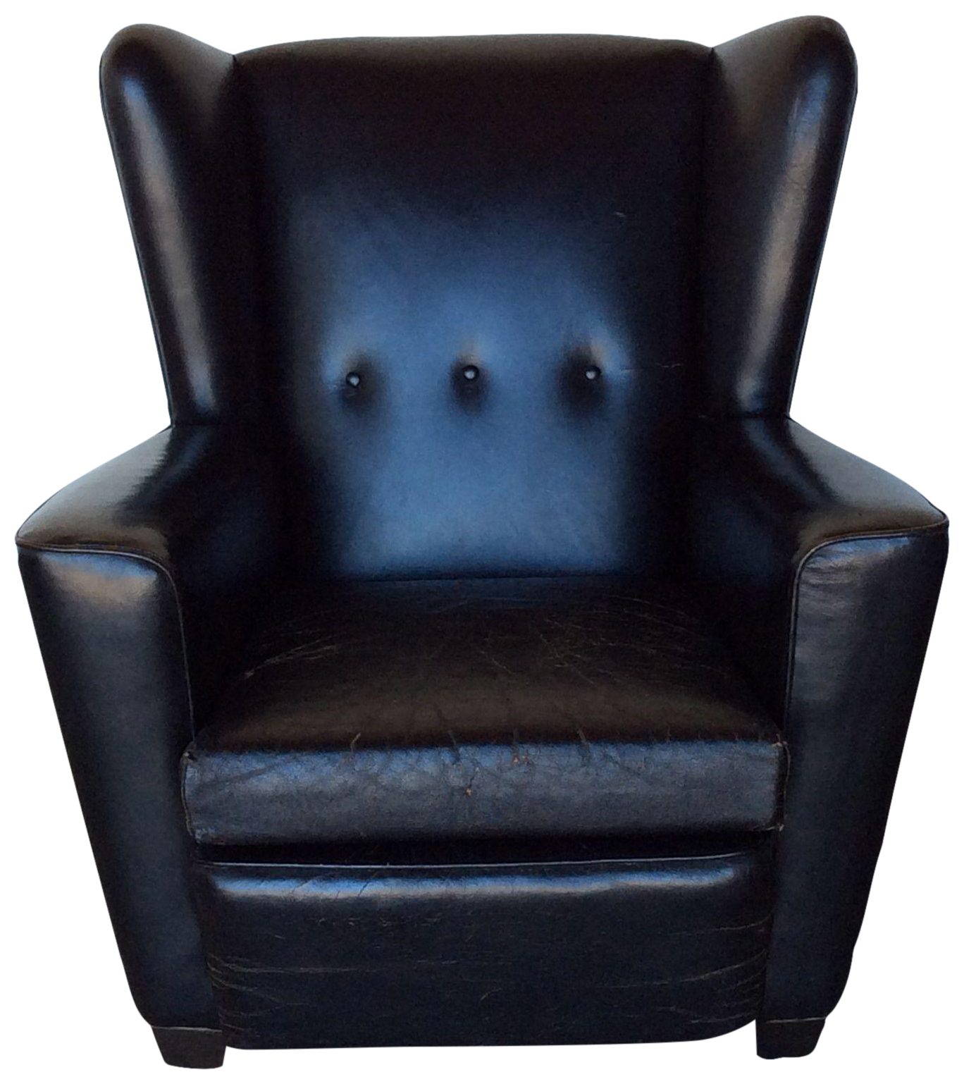 Vintage Black Leather Wing Chair Chairish