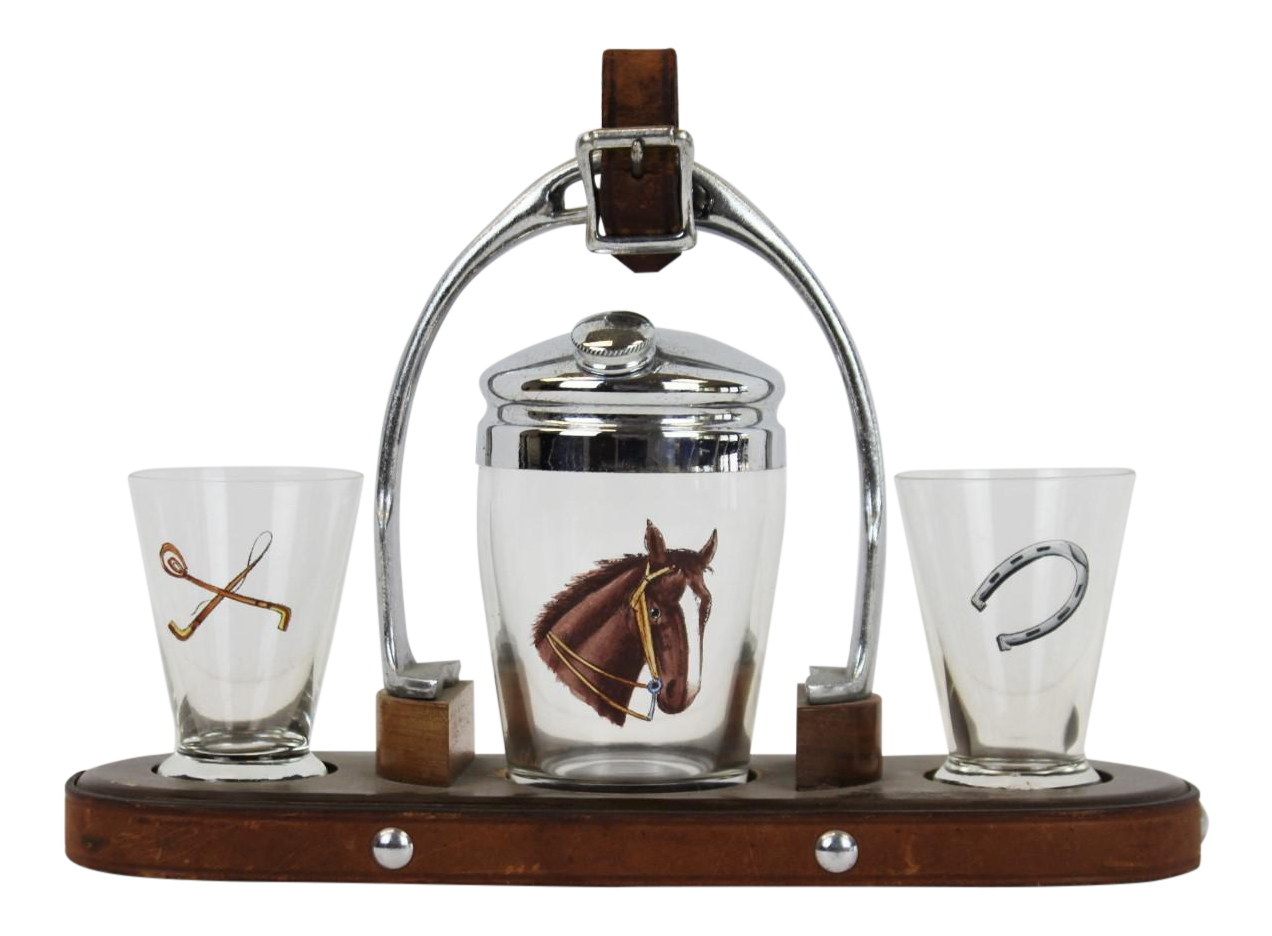 Cocktail Tray Horse Head Shaker Amp Shot Glasses Set Of 4