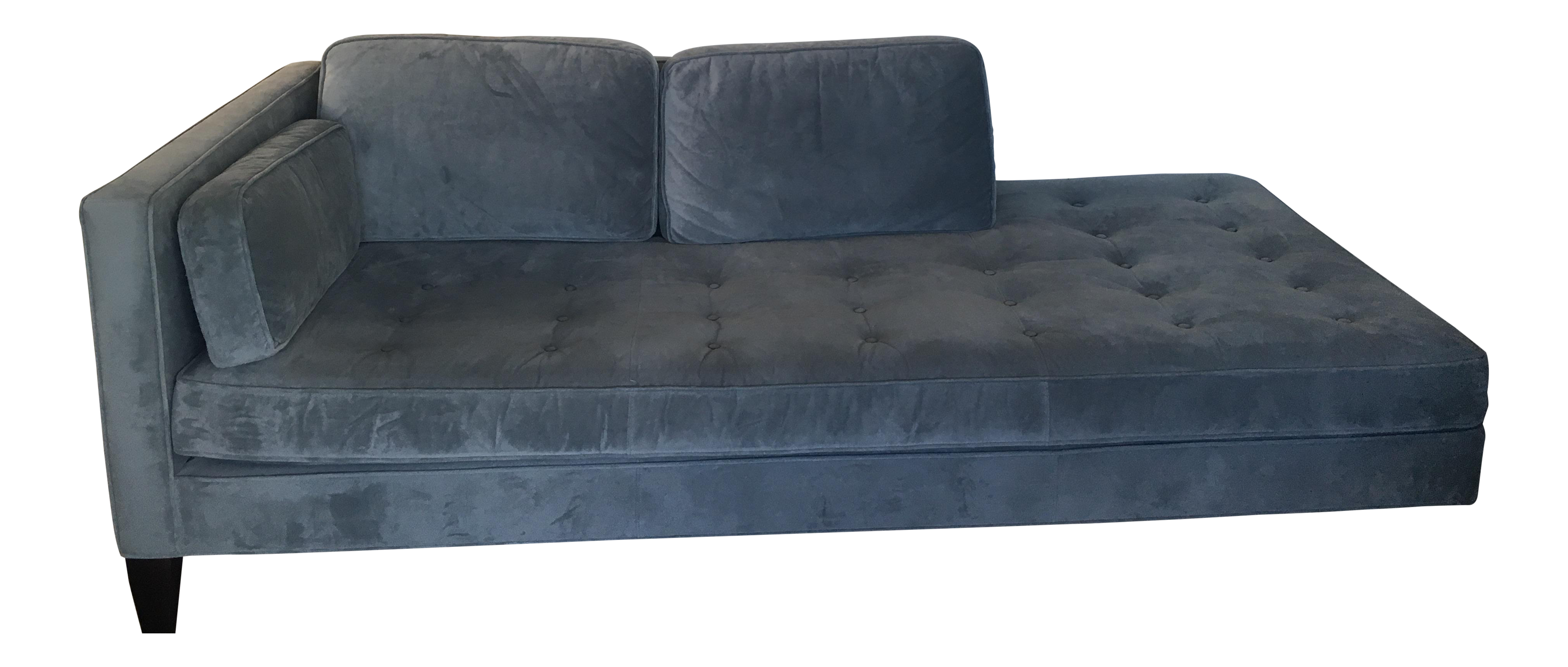 Room board cloud blue velvet hutton chaise chairish for Blue velvet chaise