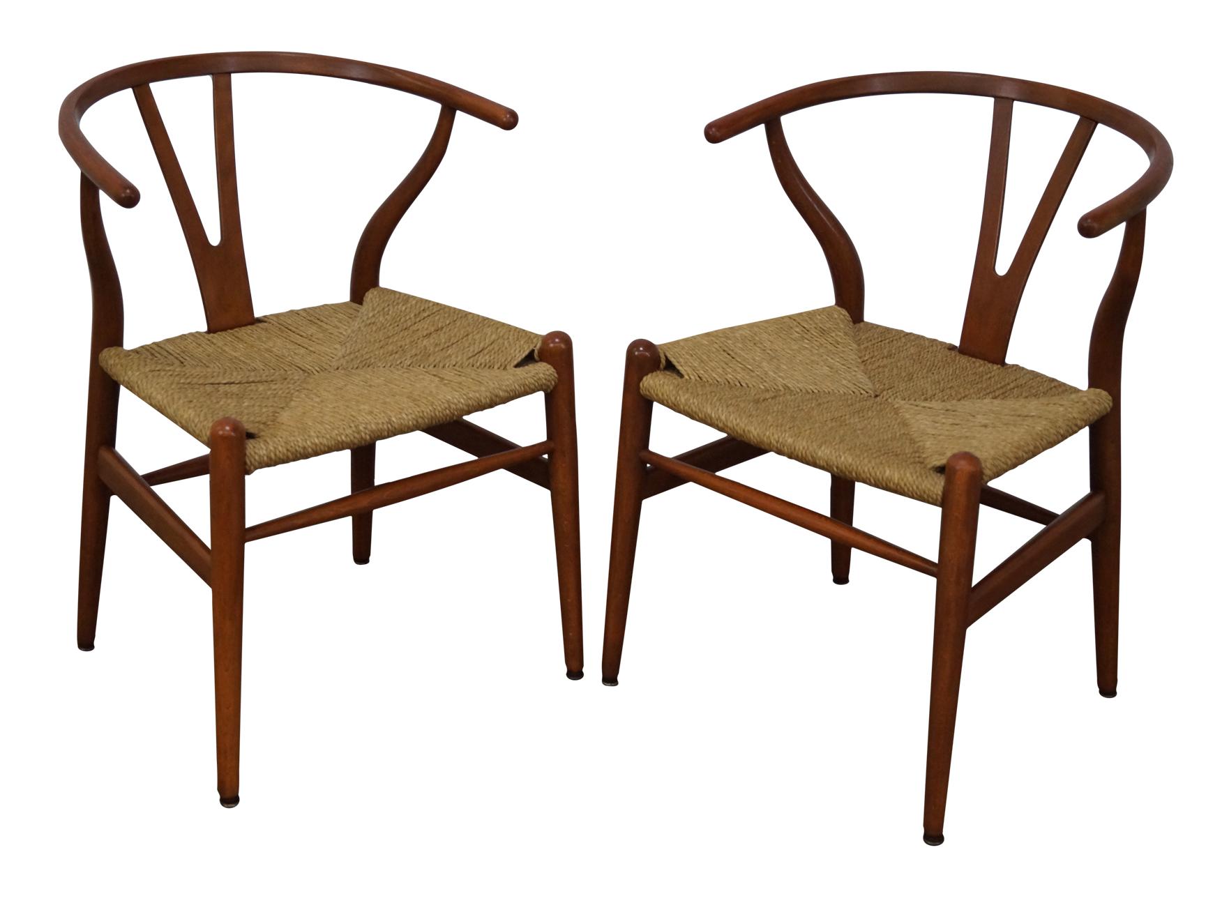 hans wegner carl hansen wishbone chairs pair chairish. Black Bedroom Furniture Sets. Home Design Ideas