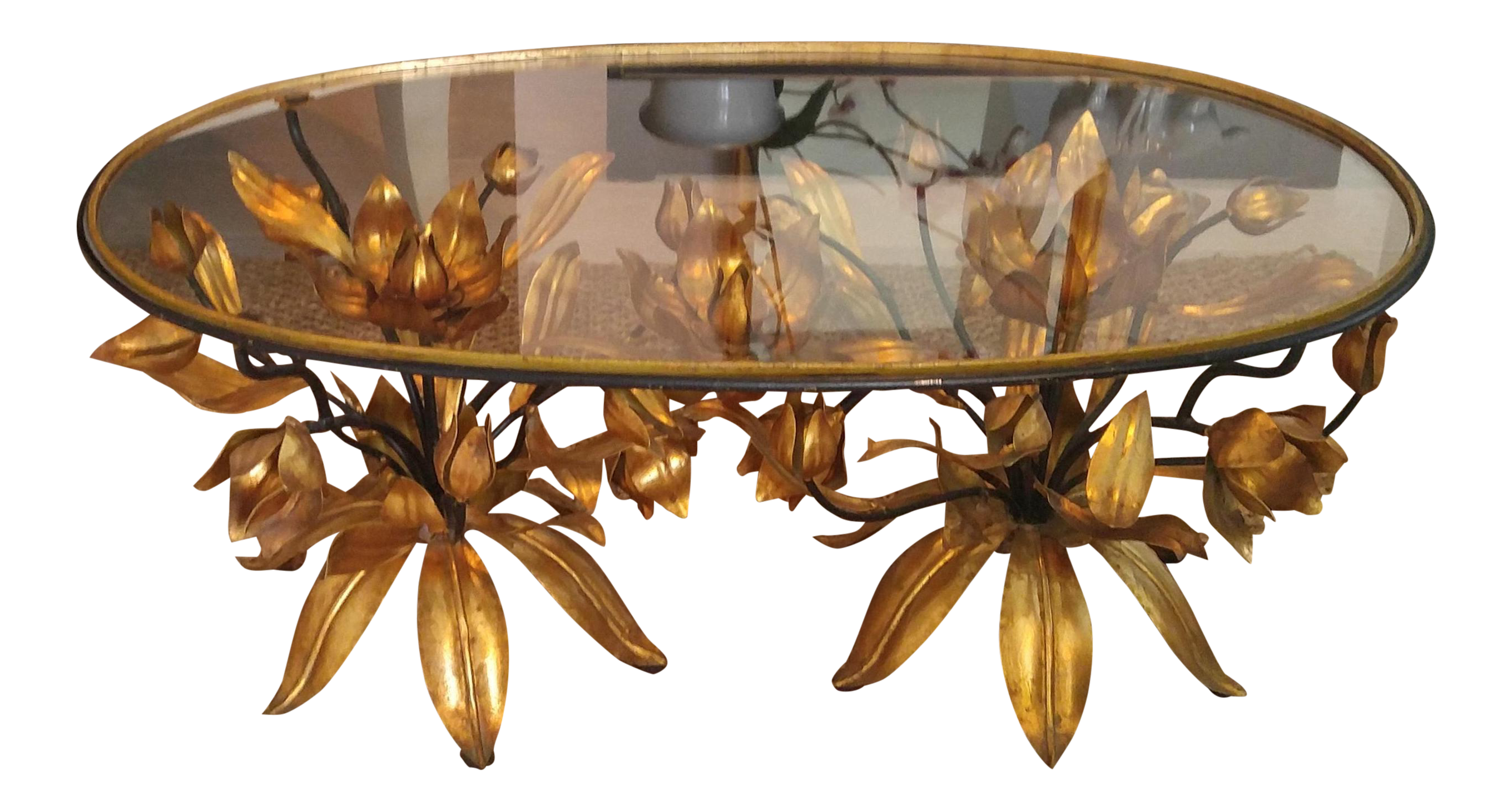 Italian Gilt Tole Floral Coffee Table