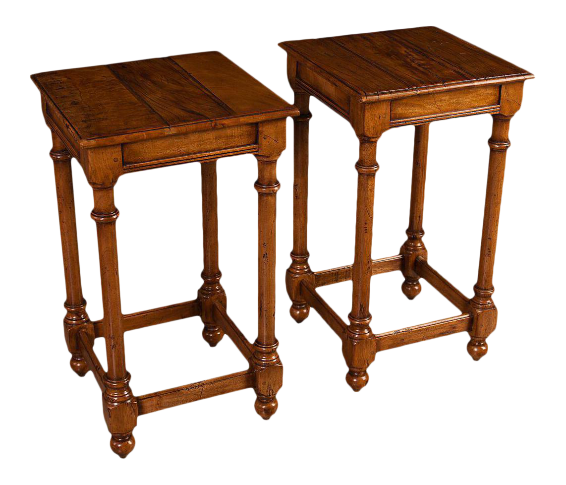 desks with storage sarreid ltd walnut side tables a pair chairish 14700