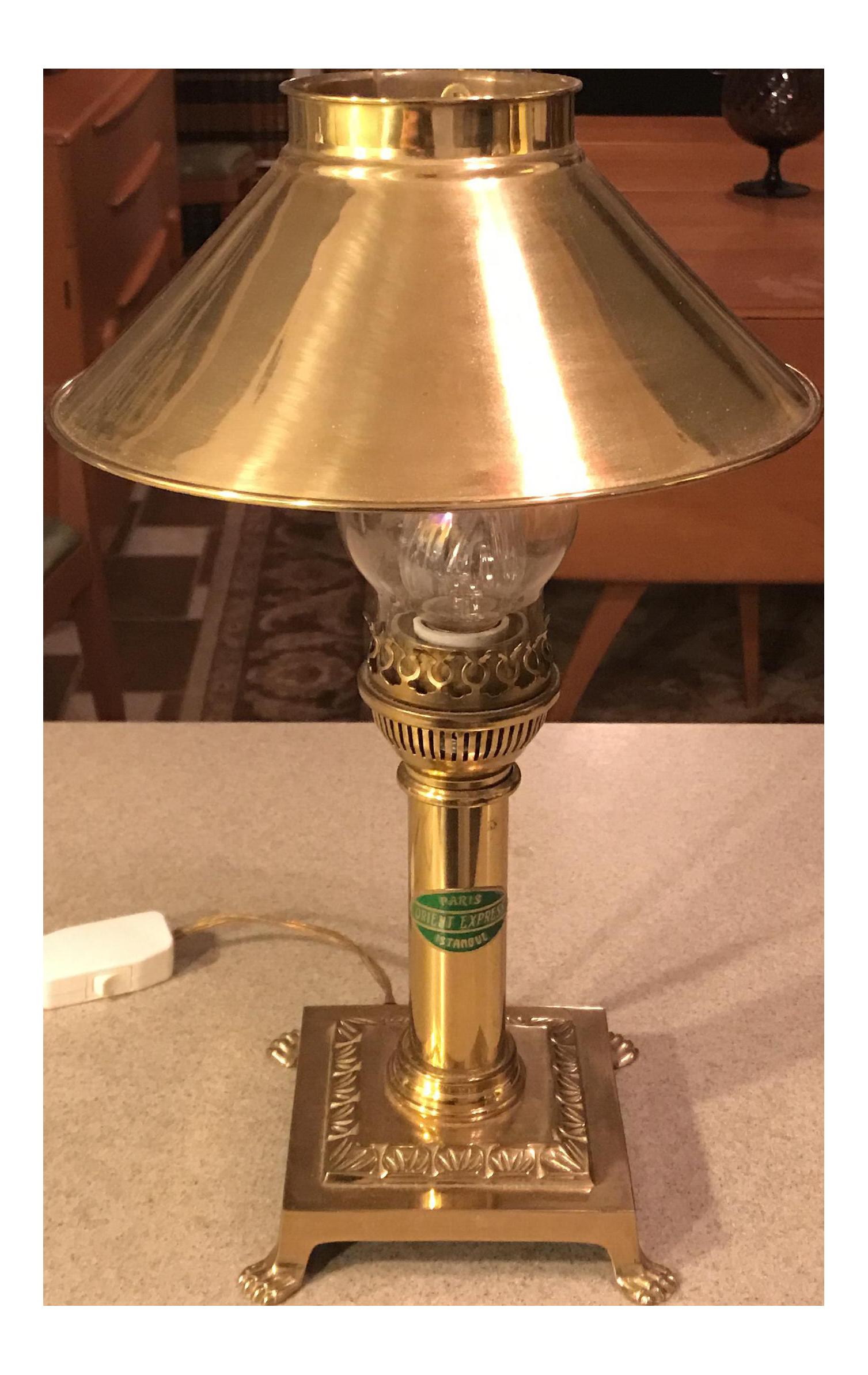 Vintage Orient Express Paris Brass Lamp Chairish