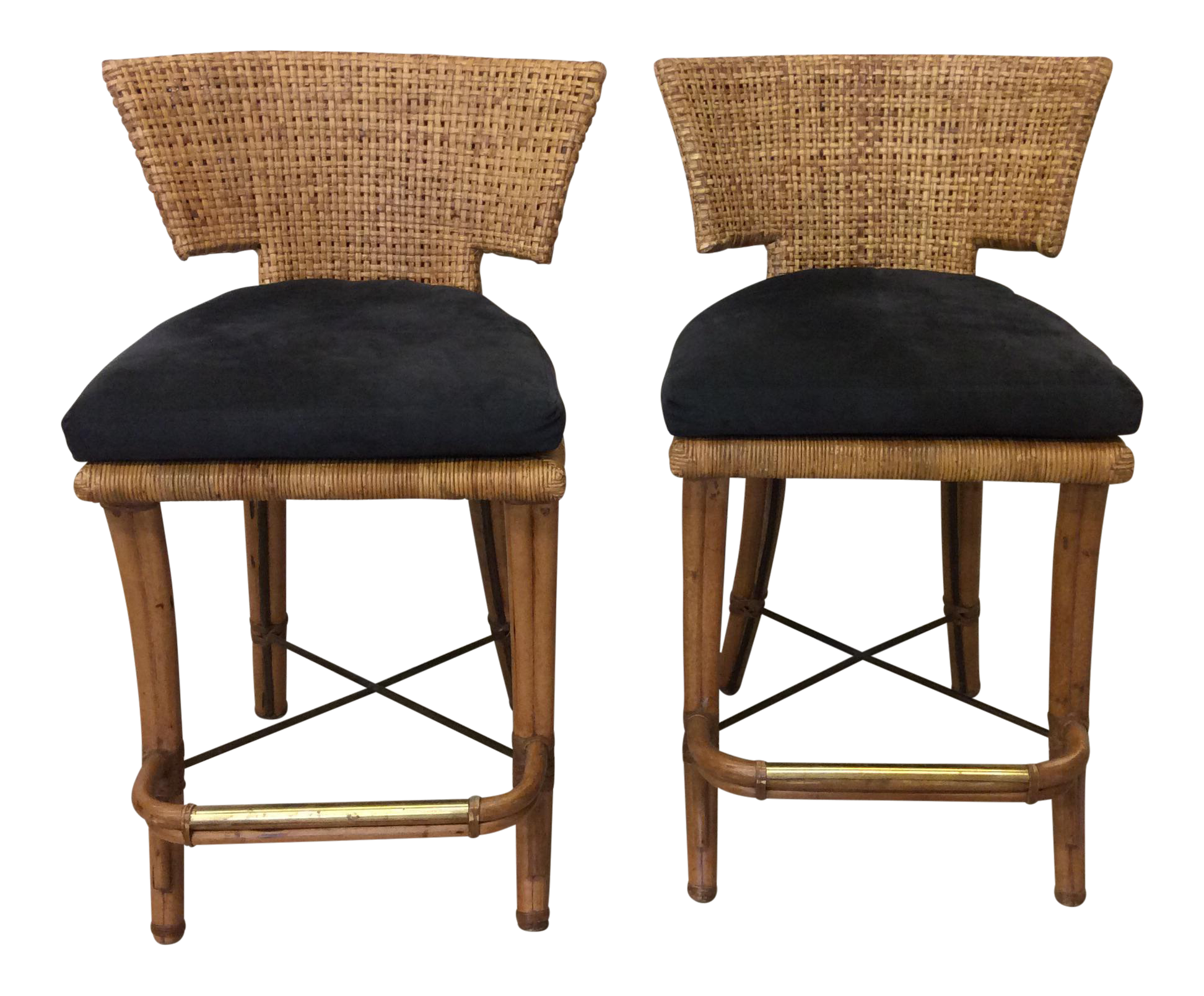 Vintage Mcguire Wicker Amp Bamboo Bar Stools A Pair Chairish