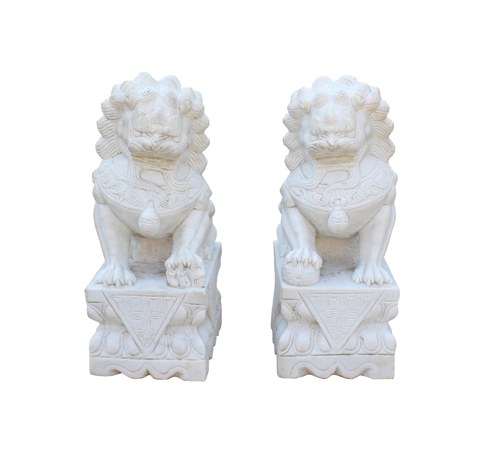 Off White Marble : Chinese pair distressed off white marble stone fengshui