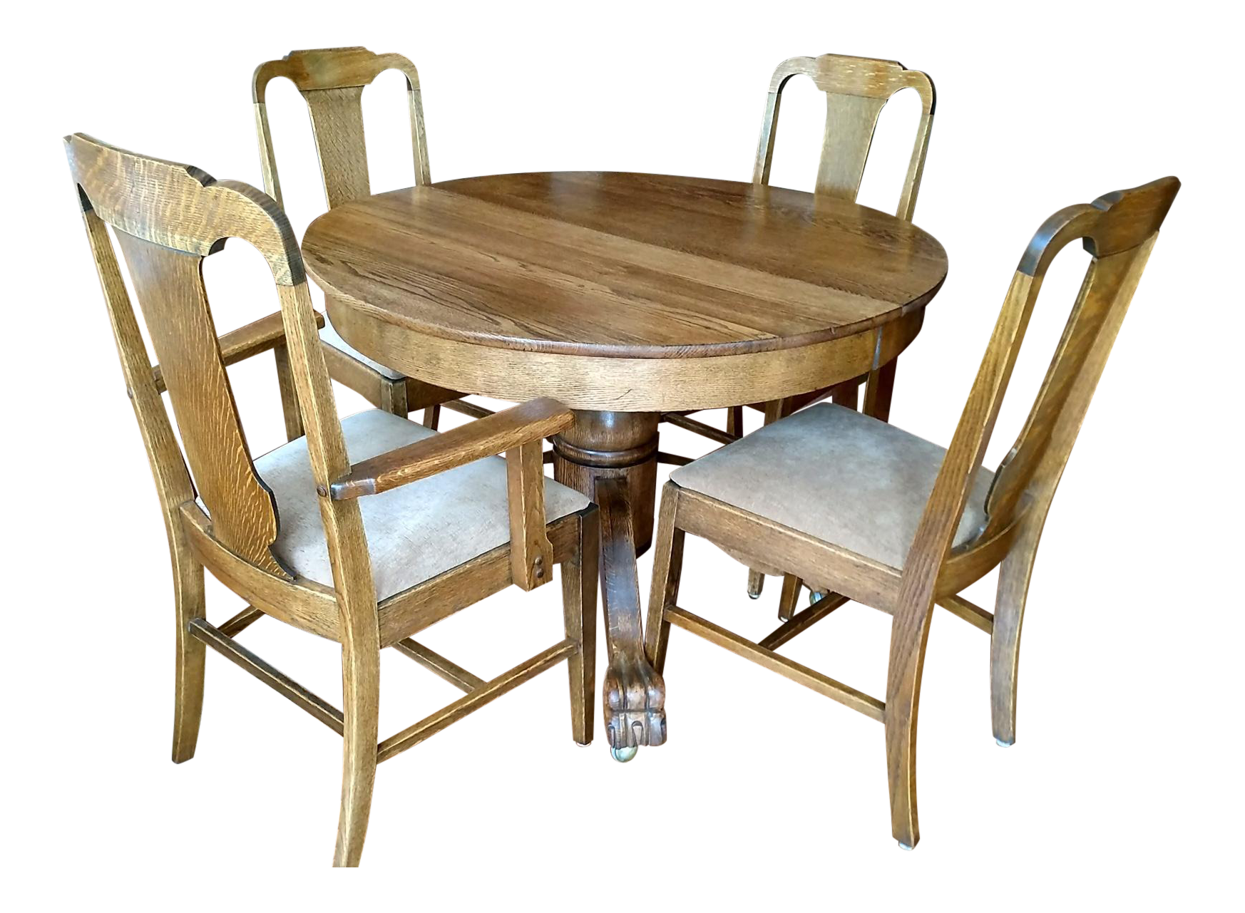 Vintage cafe table and chairs - Antique Claw Foot Dining Table 4 Chairs